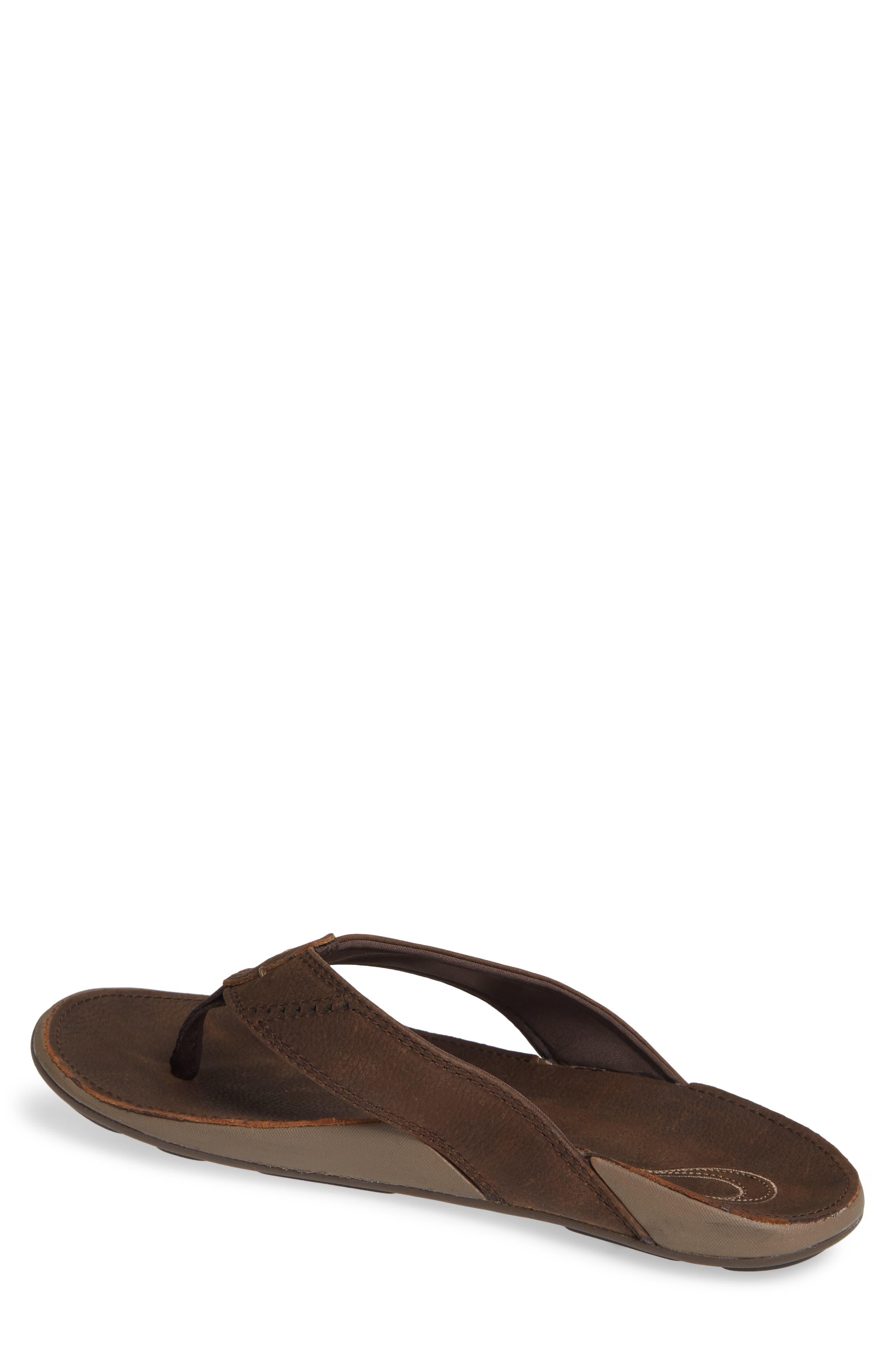 'Nui' Leather Flip Flop,                             Alternate thumbnail 2, color,                             ESPRESSO LEATHER