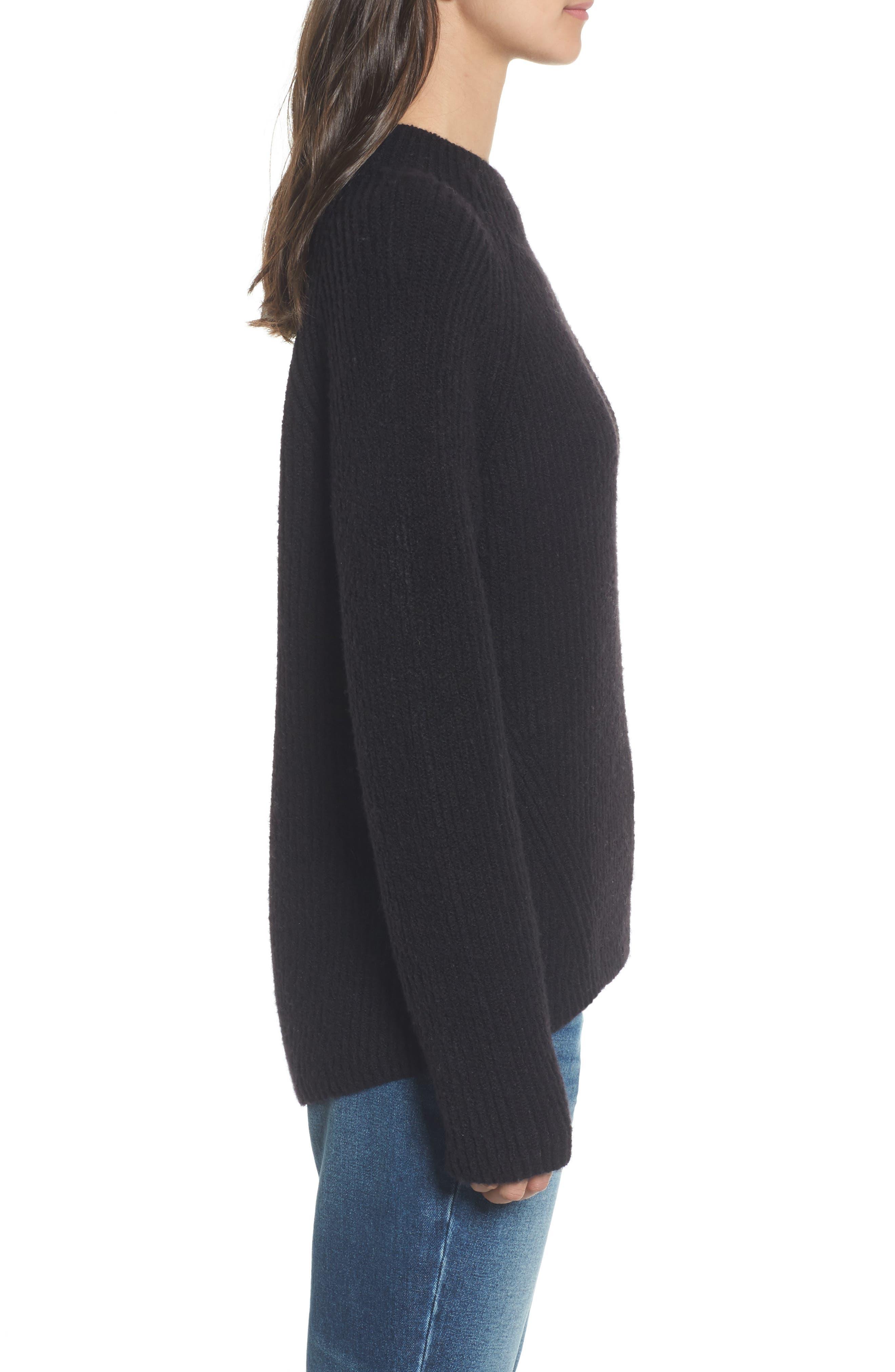 Northfield Mock Neck Sweater,                             Alternate thumbnail 3, color,                             001