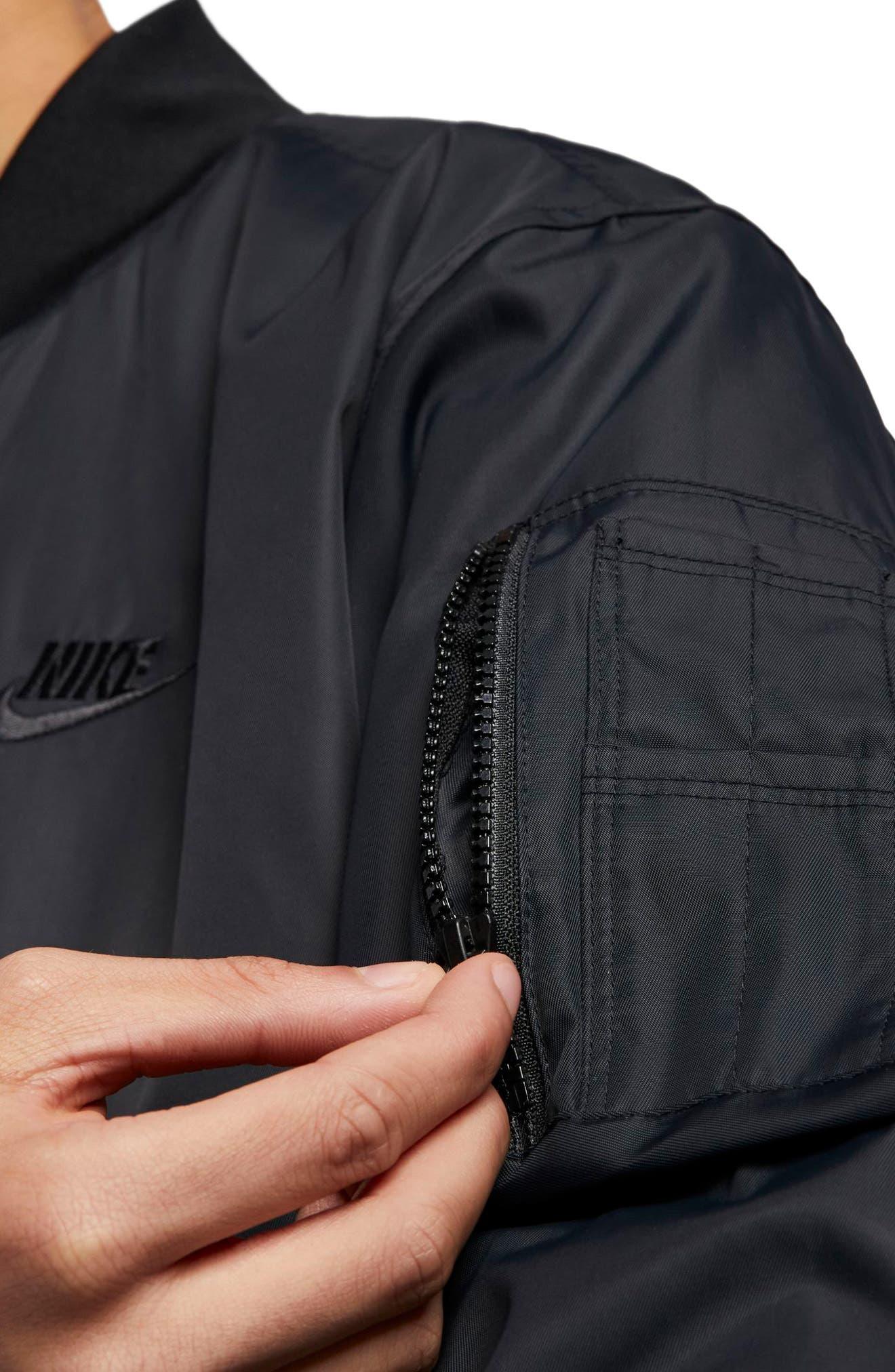 Sportswear Reversible Insulated Bomber Jacket,                             Alternate thumbnail 2, color,                             BLACK/ BLACK/ WHITE/ WHITE