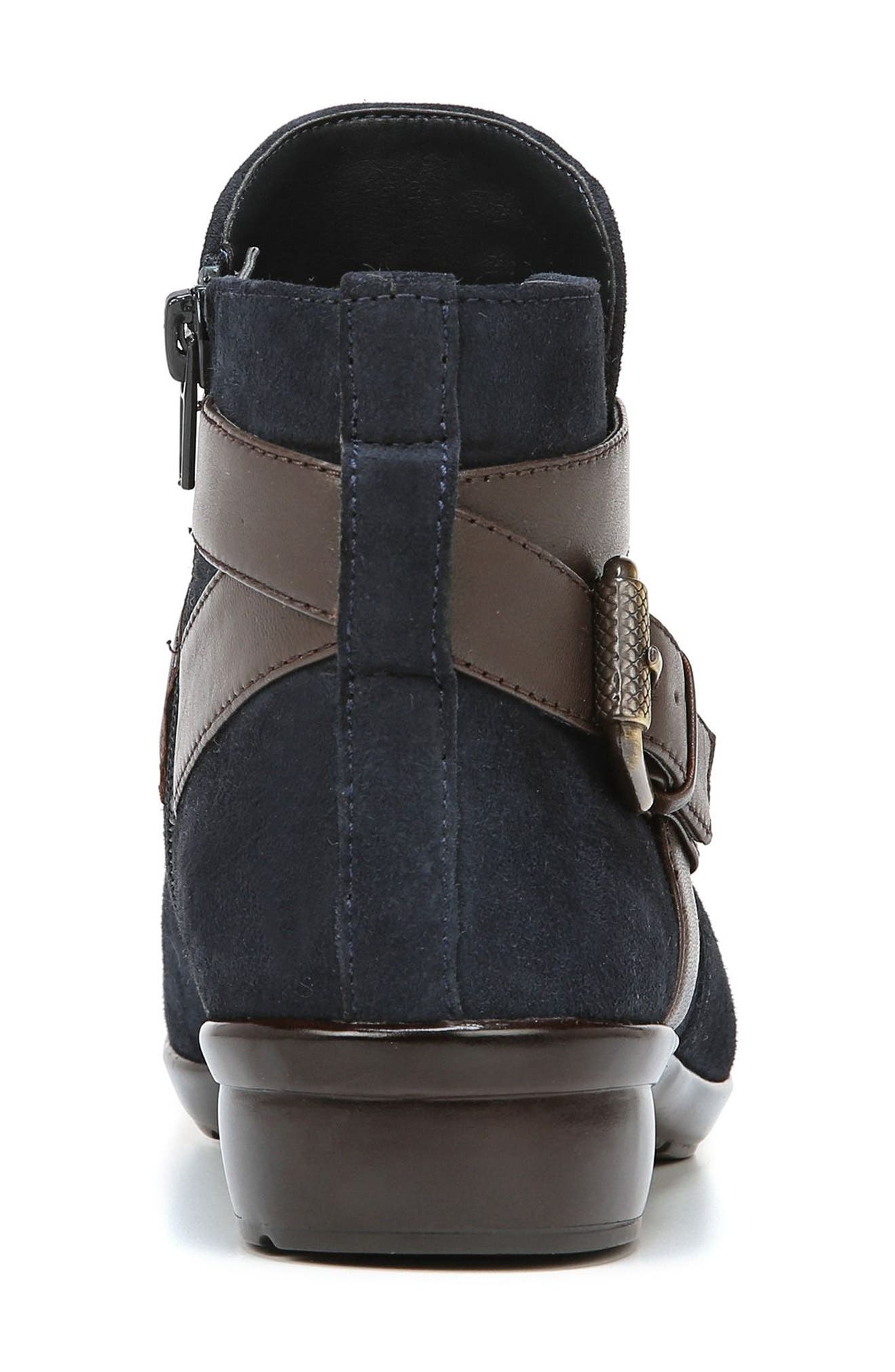 Cassandra Buckle Strap Bootie,                             Alternate thumbnail 7, color,                             NAVY/ BROWN SUEDE
