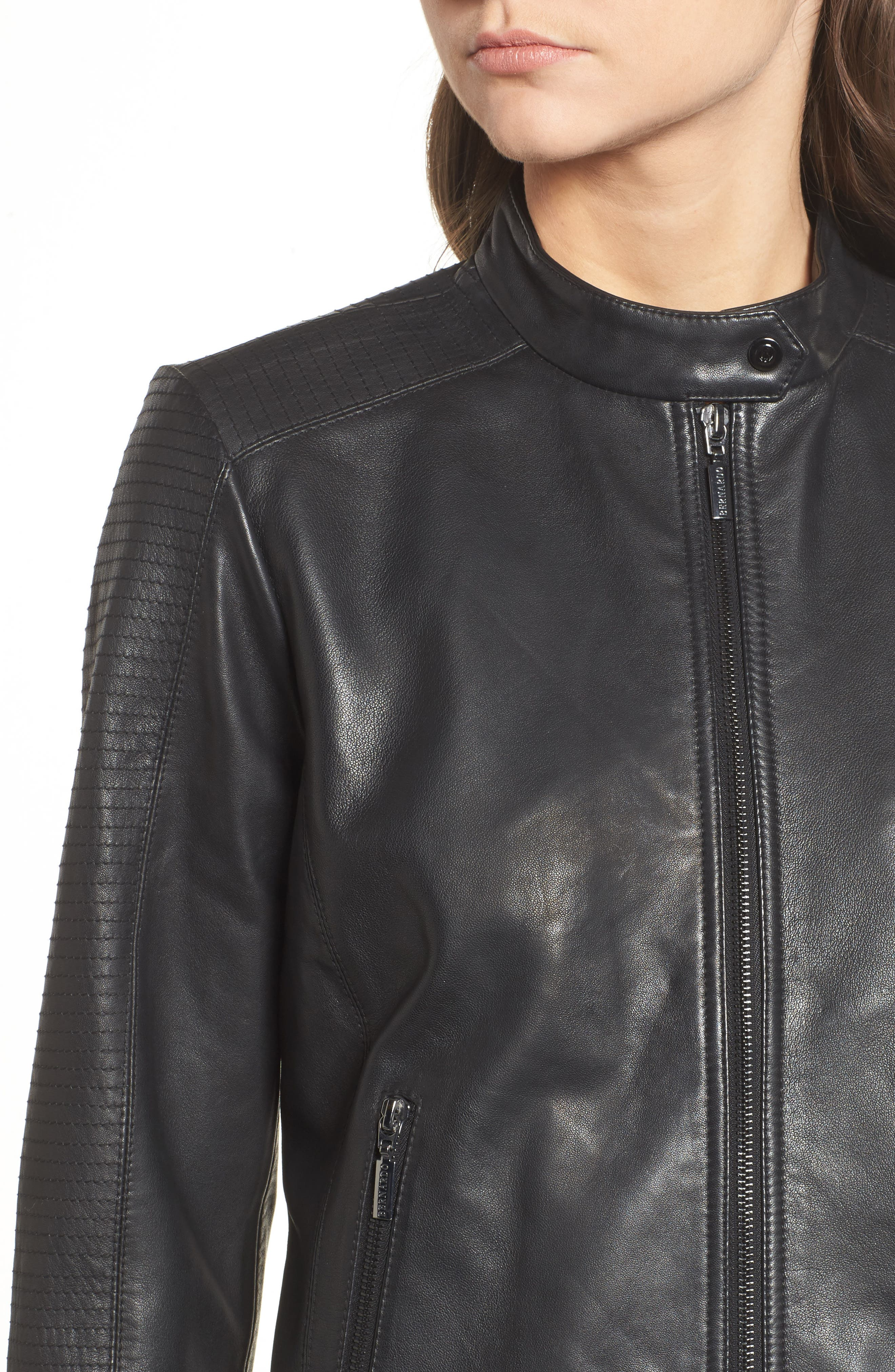 Kirwin Leather Moto Jacket,                             Alternate thumbnail 4, color,                             001