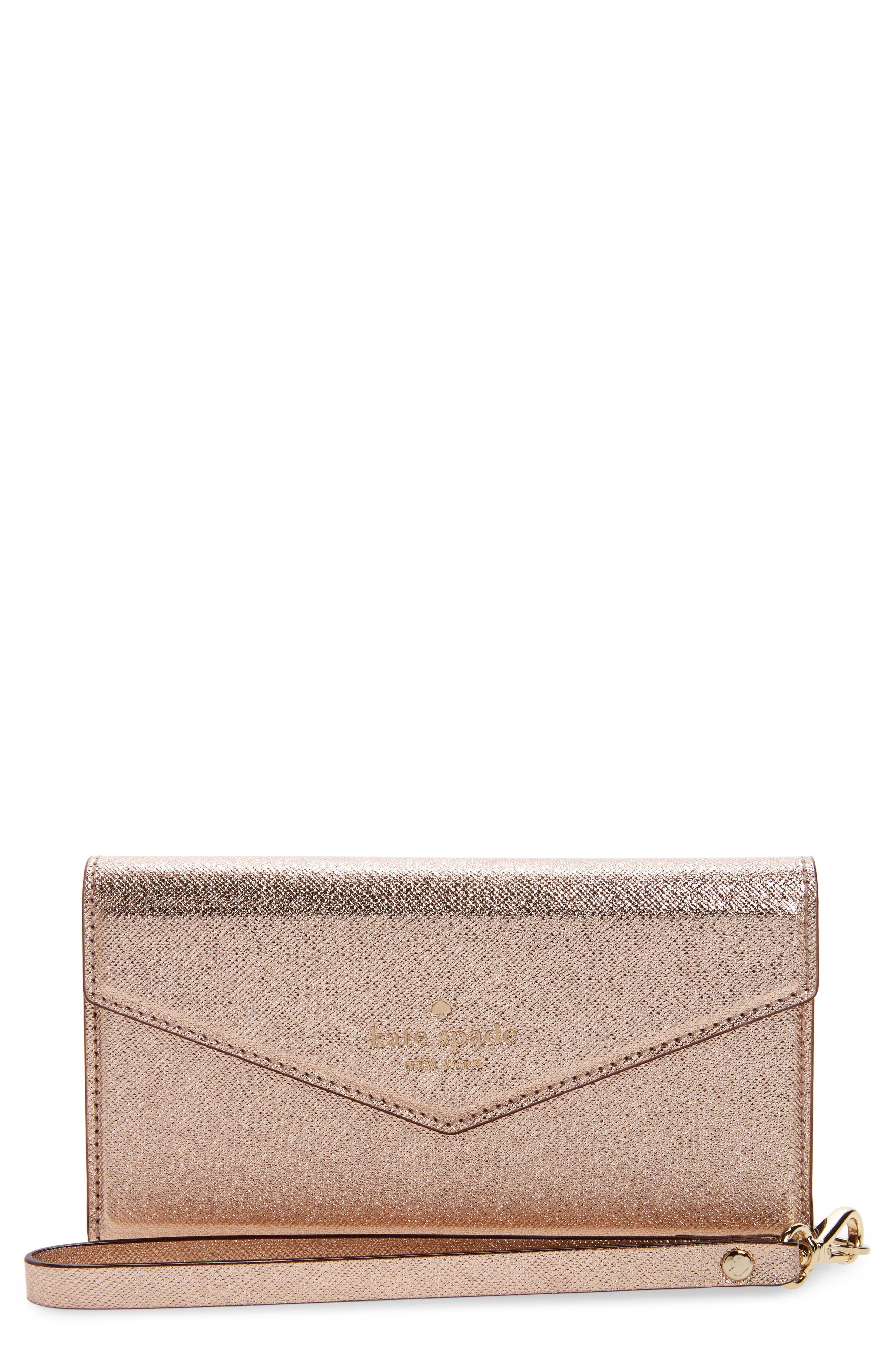 iPhone 7/8 & 7/8 Plus leather wristlet,                         Main,                         color, ROSE GOLD
