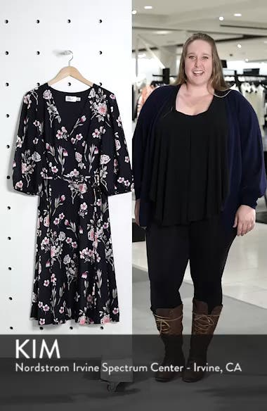 Puff Sleeve Floral Wrap Midi Dress, sales video thumbnail