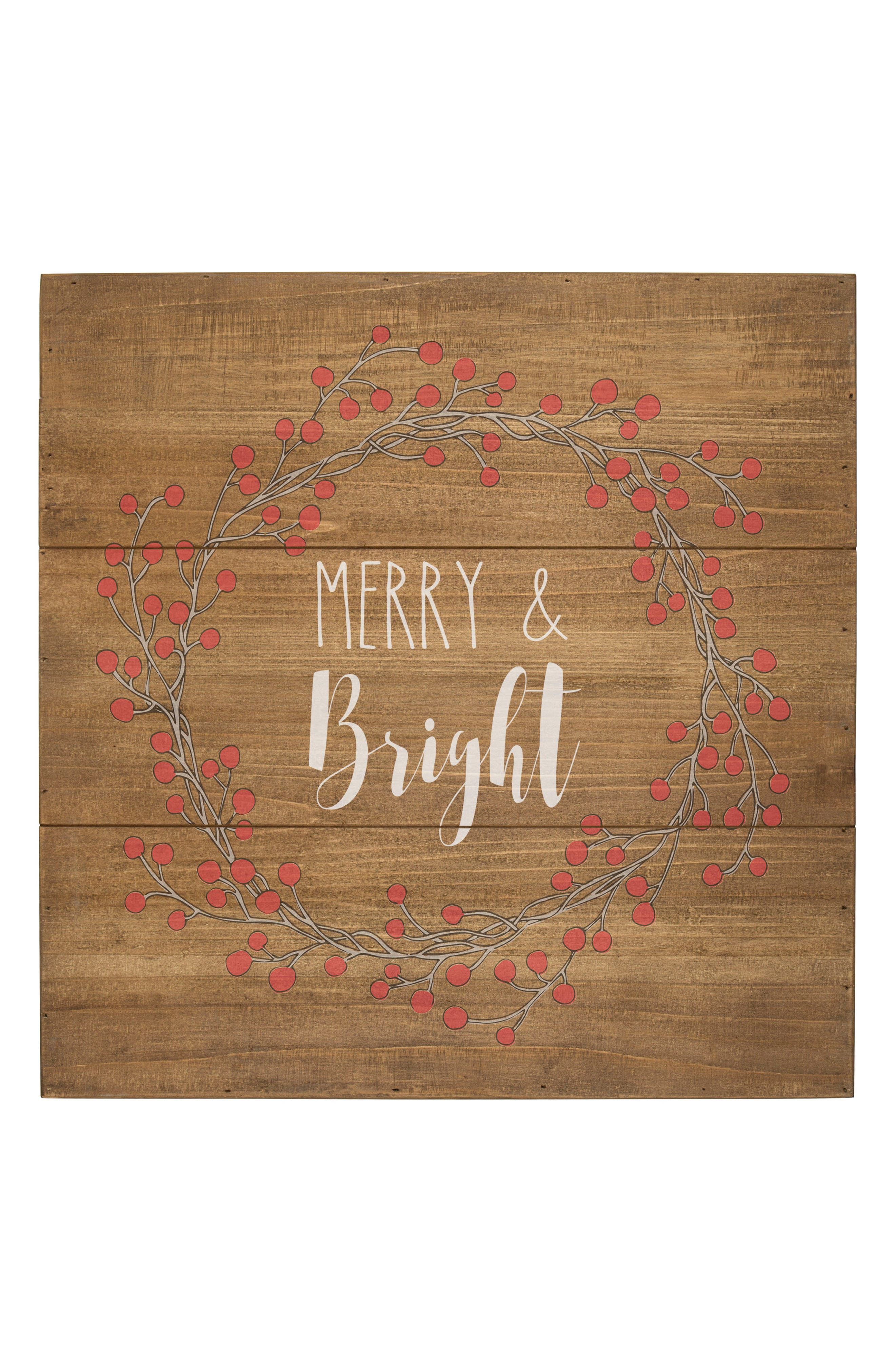 Merry & Bright Wood Sign,                             Main thumbnail 1, color,