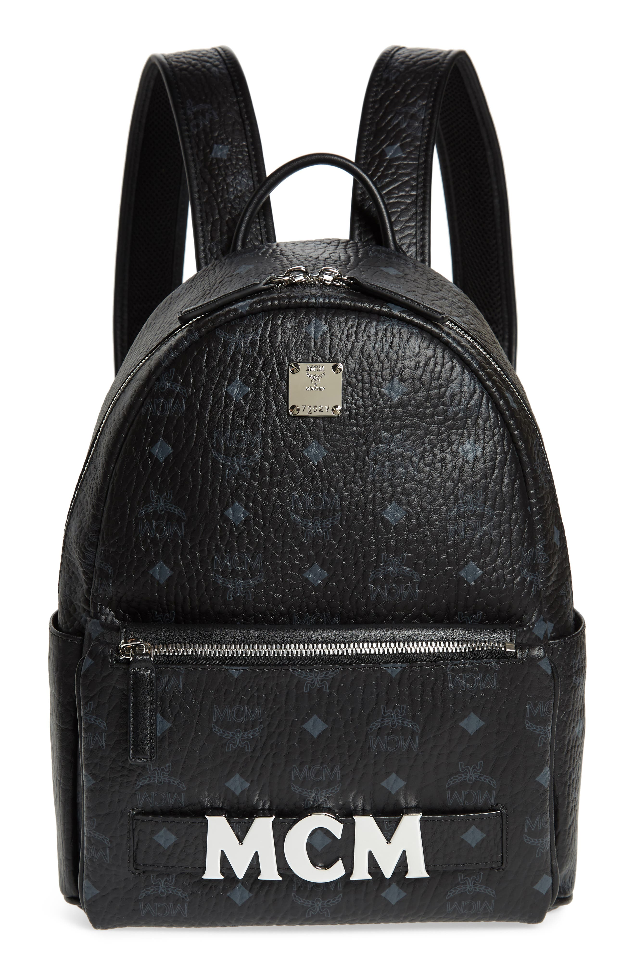 MCM Small Stark Trilogie Canvas Backpack, Main, color, 001