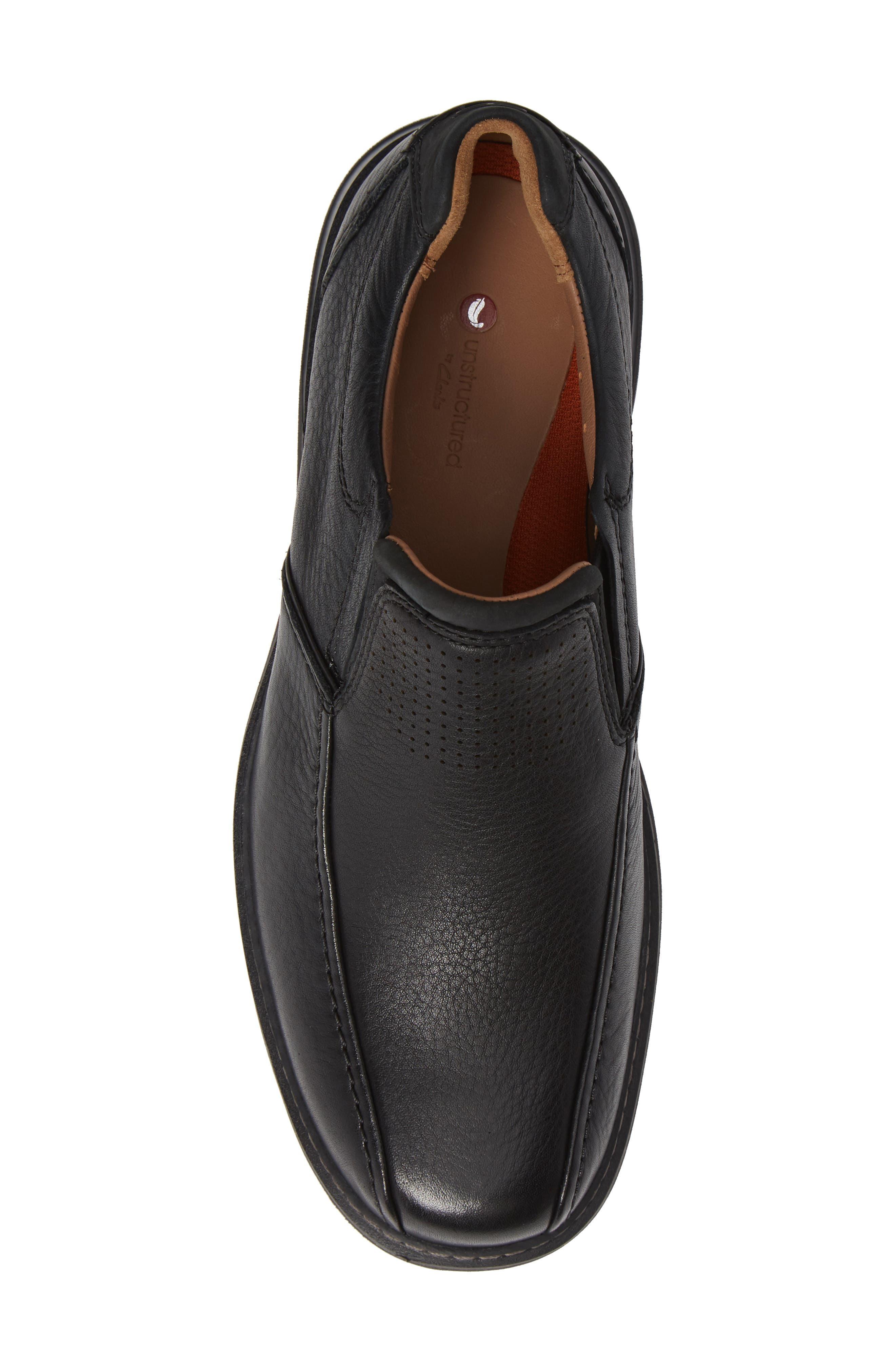 Un Ramble Step Venetian Loafer,                             Alternate thumbnail 5, color,                             BLACK LEATHER