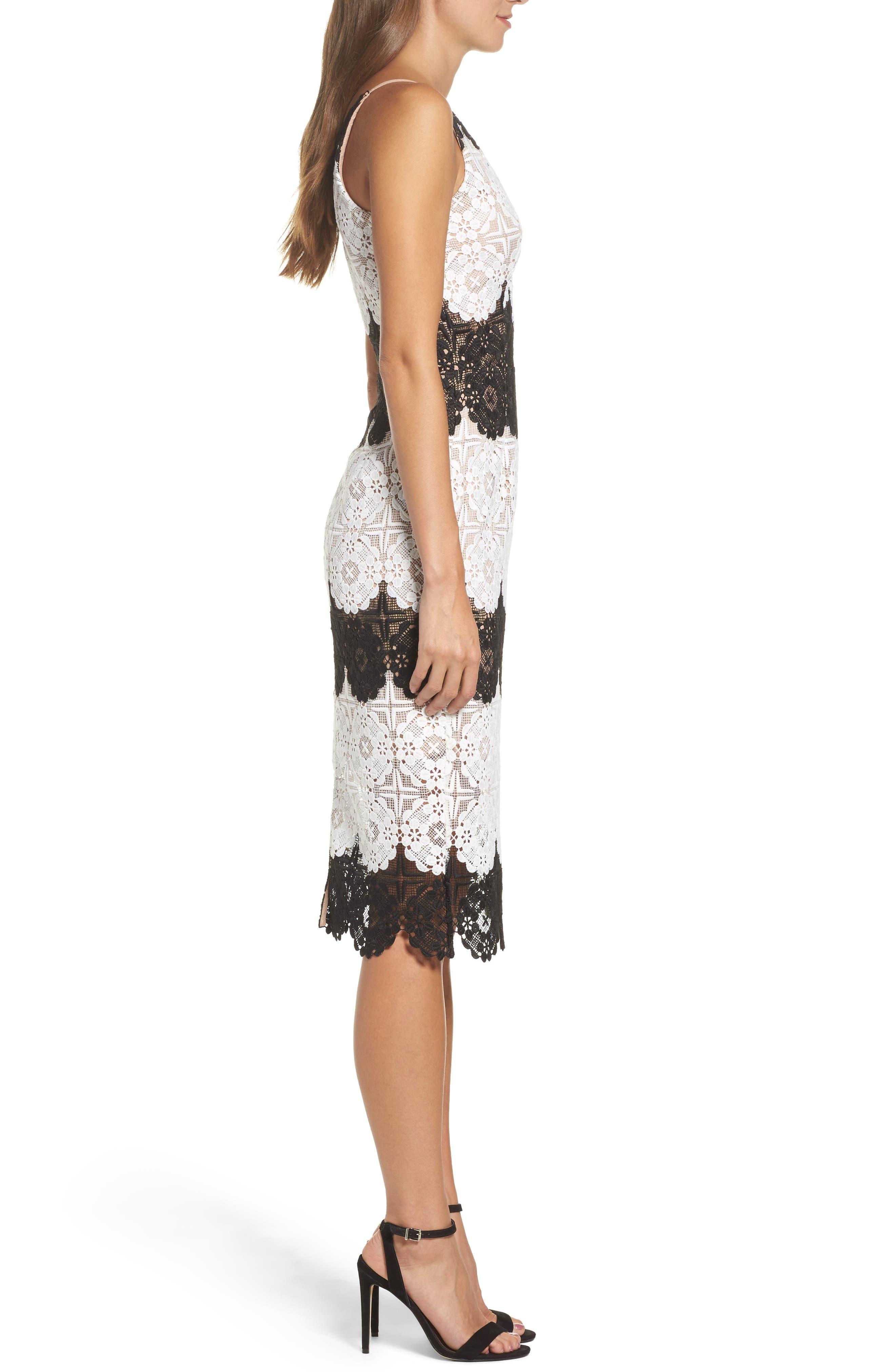 Vera Crochet Stripe Sheath Dress,                             Alternate thumbnail 3, color,                             011