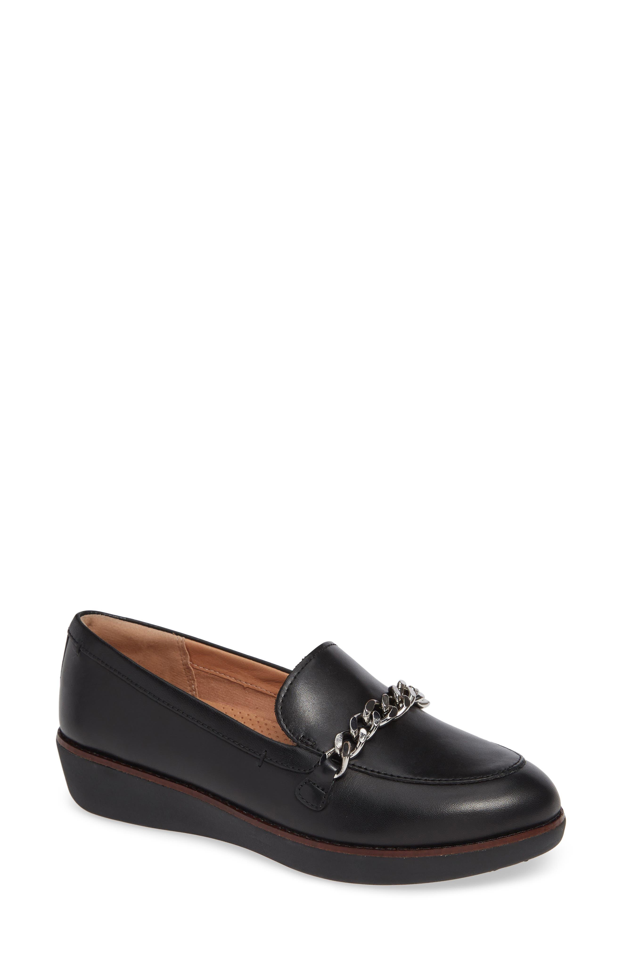 Petrina Chain Loafer,                         Main,                         color, BLACK LEATHER