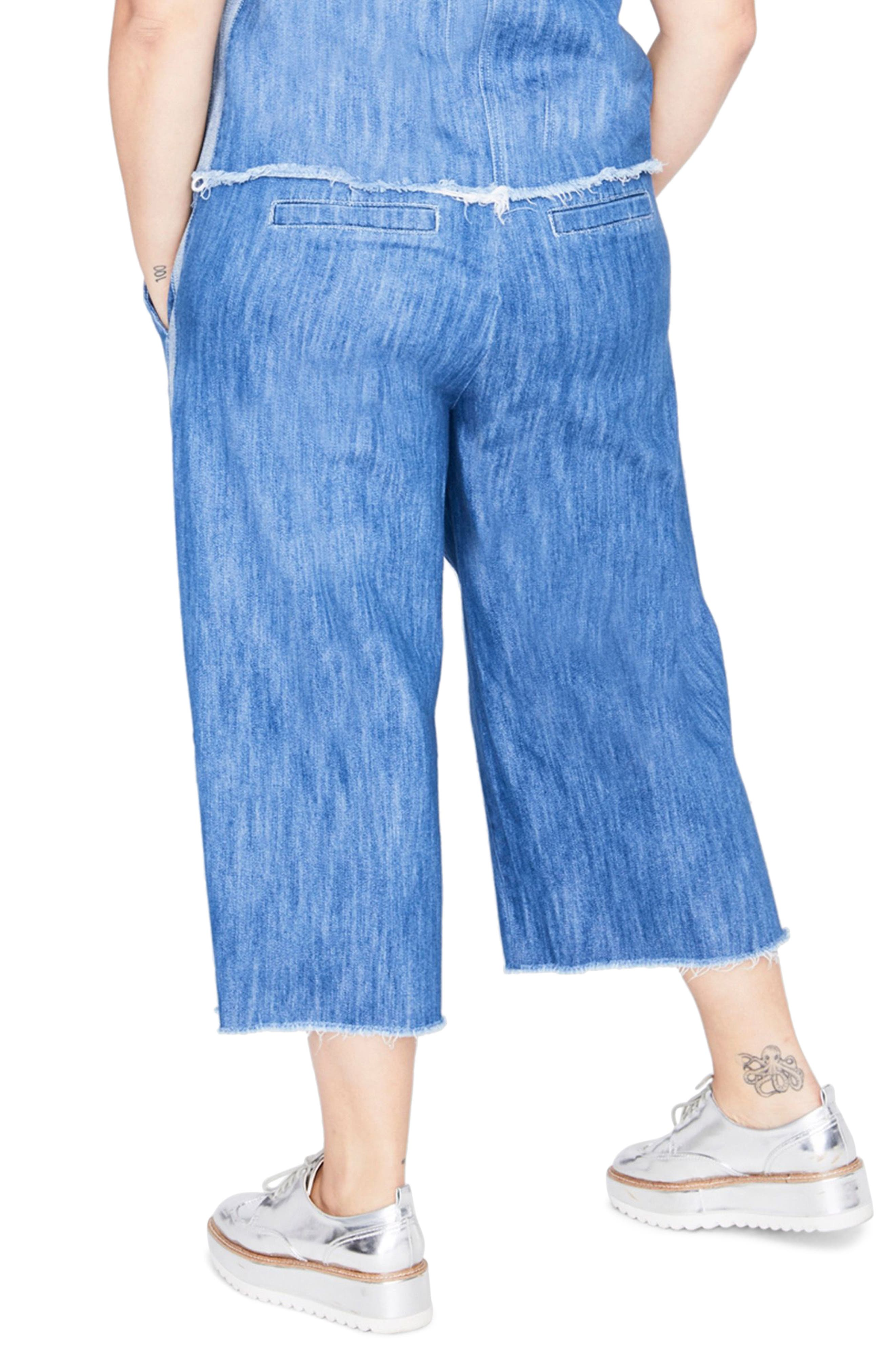 RACHEL RACHEL ROY,                             Stripe Wide Leg Crop Chambray Pants,                             Alternate thumbnail 2, color,                             419