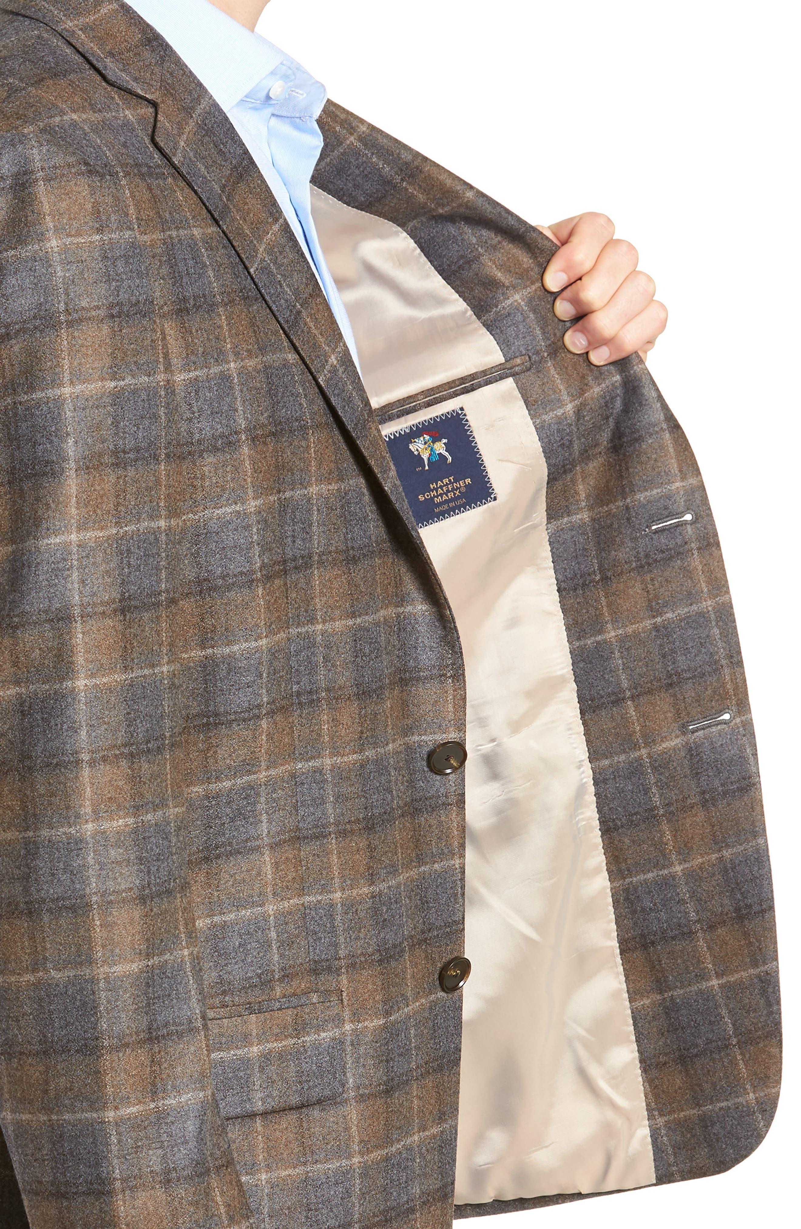 HART SCHAFFNER MARX,                             Classic Fit Plaid Wool Sport Coat,                             Alternate thumbnail 4, color,                             BROWN