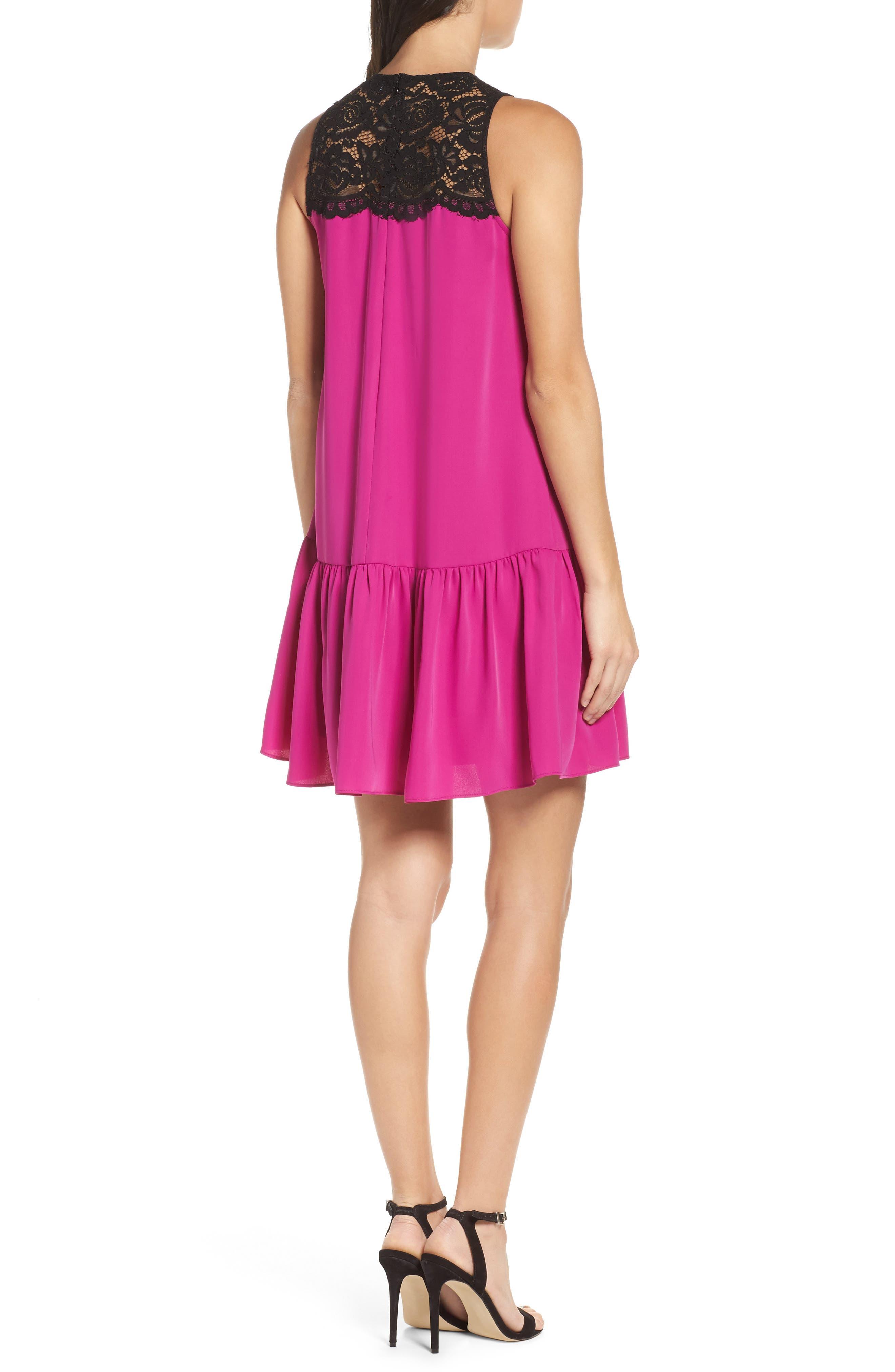 Lace & Crepe Shift Dress,                             Alternate thumbnail 4, color,