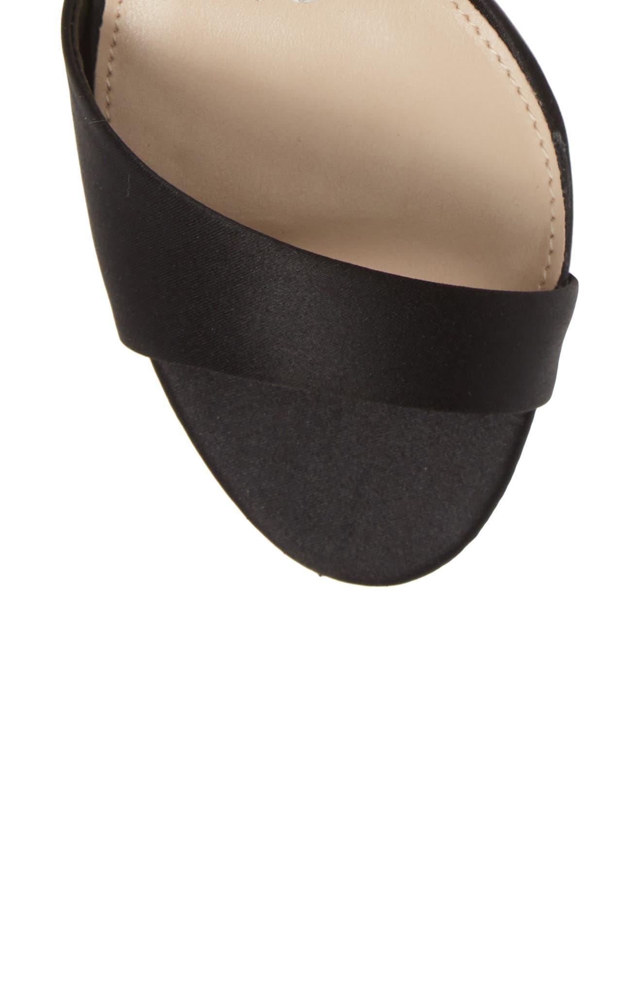 Vera Embellished Ankle Strap Sandal,                             Alternate thumbnail 5, color,                             BLACK SATIN