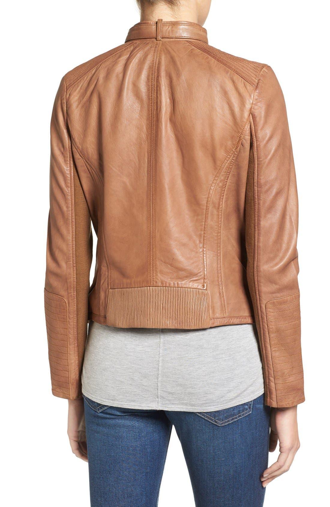 Zip Front Leather Biker Jacket,                             Alternate thumbnail 6, color,
