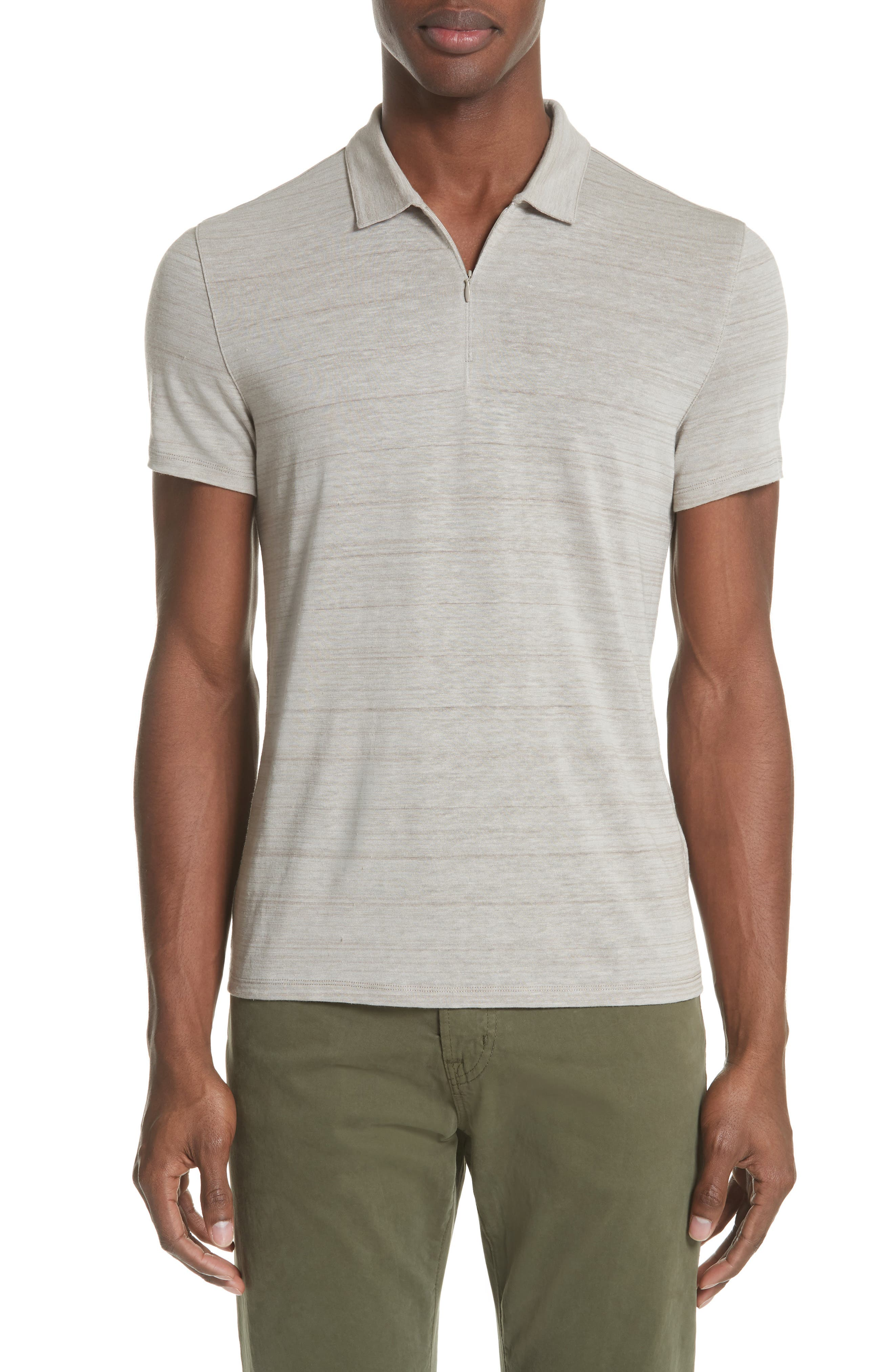 Stripe Zip Polo Shirt,                         Main,                         color, WHEAT