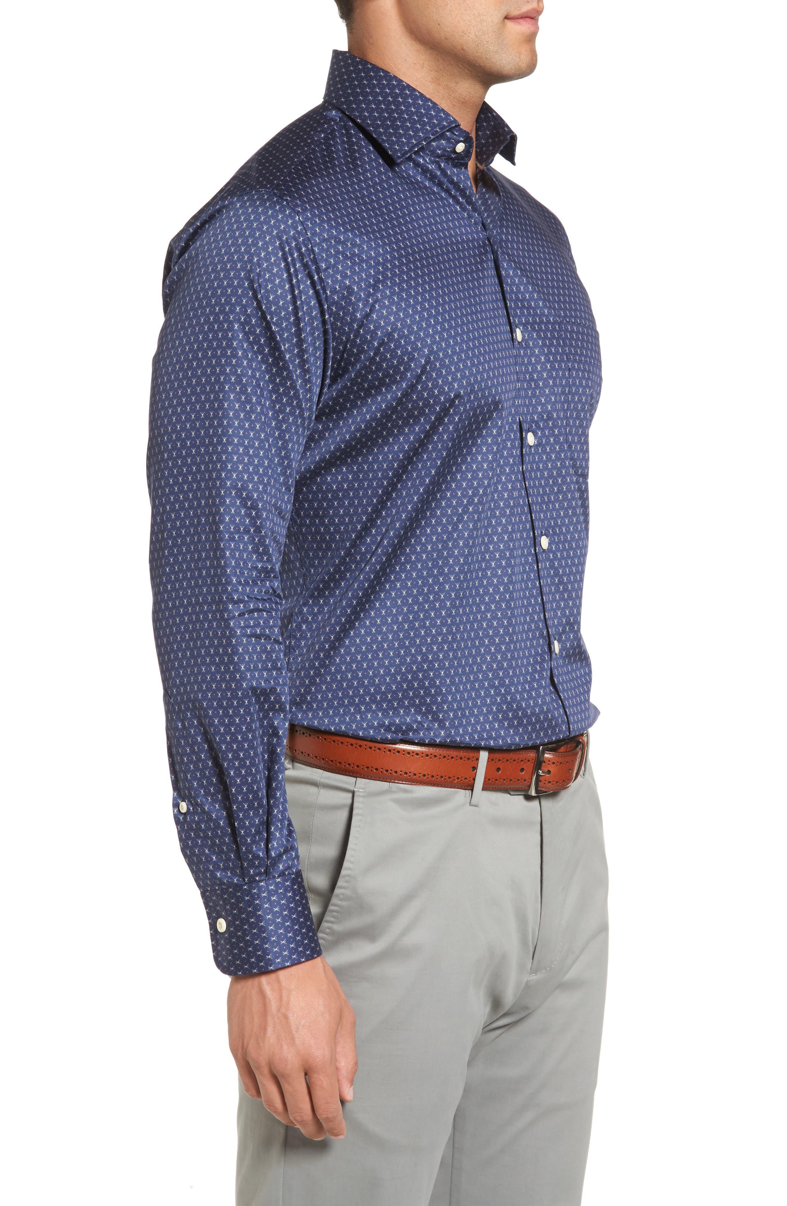 Cross Country Regular Fit Print Sport Shirt,                             Alternate thumbnail 3, color,                             424