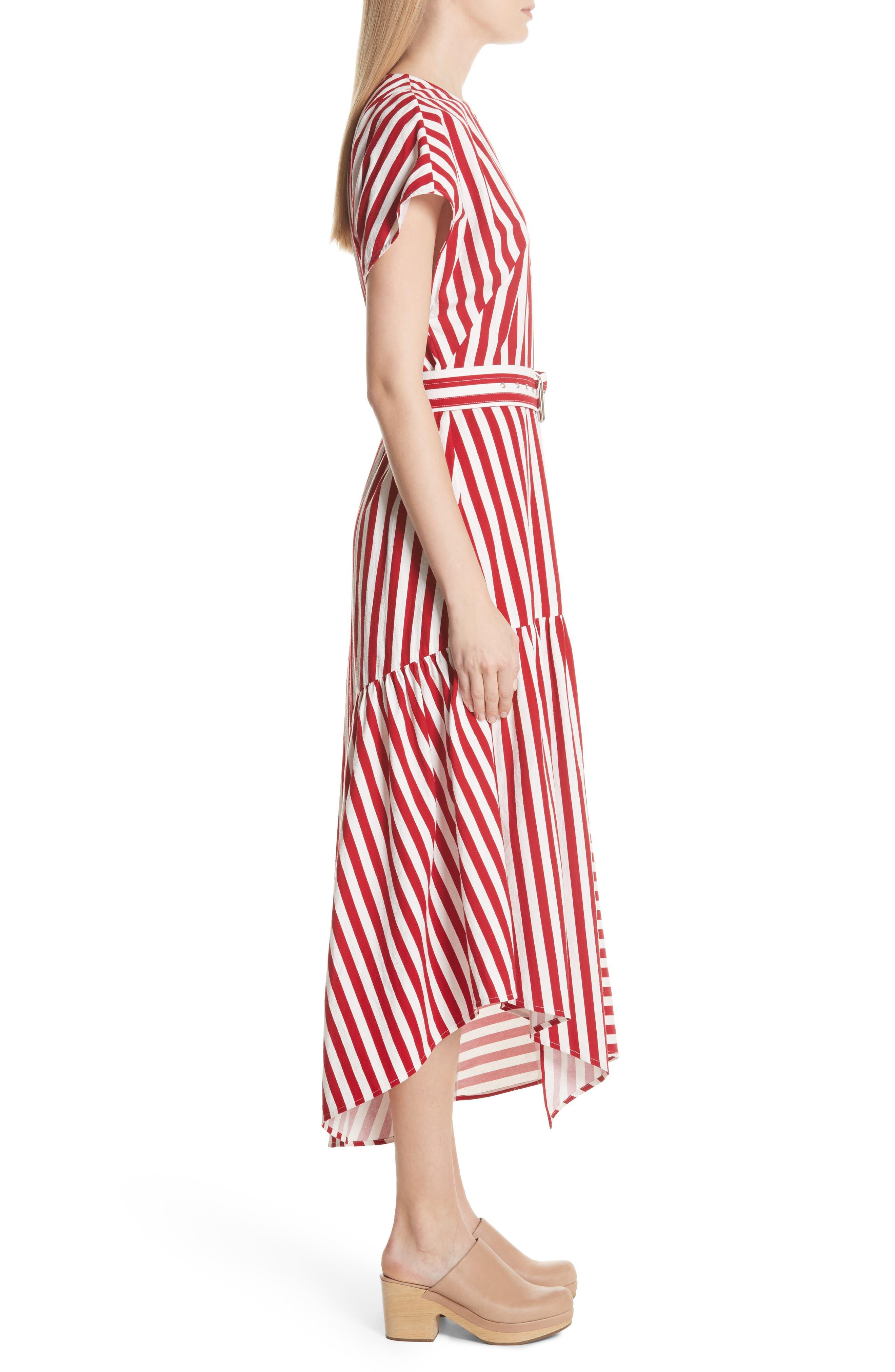 Steady Asymmetrical Dress,                             Alternate thumbnail 3, color,                             RED