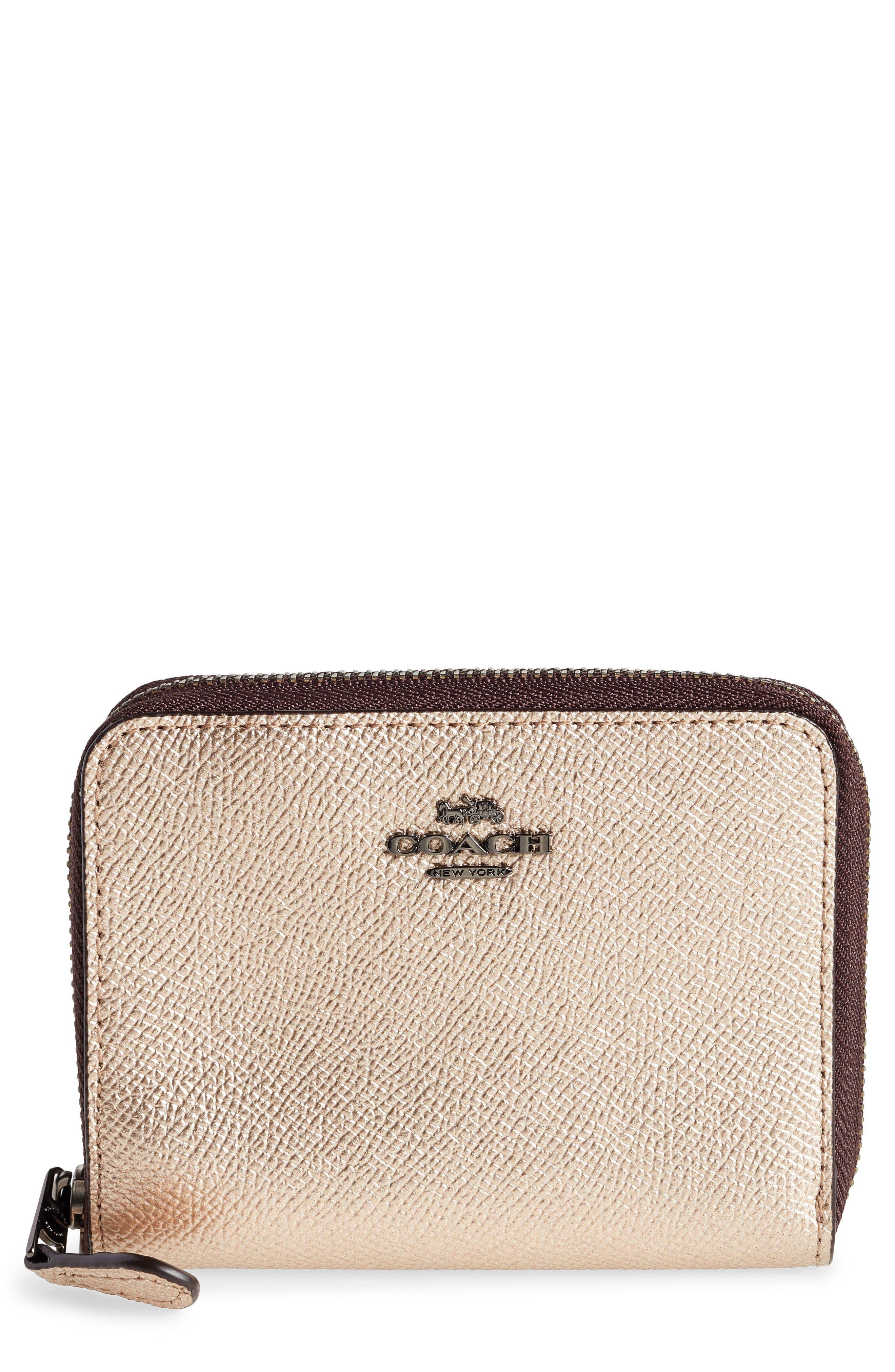 COACH,                             Small Metallic Leather Zip Around Wallet,                             Main thumbnail 1, color,                             PLATINUM