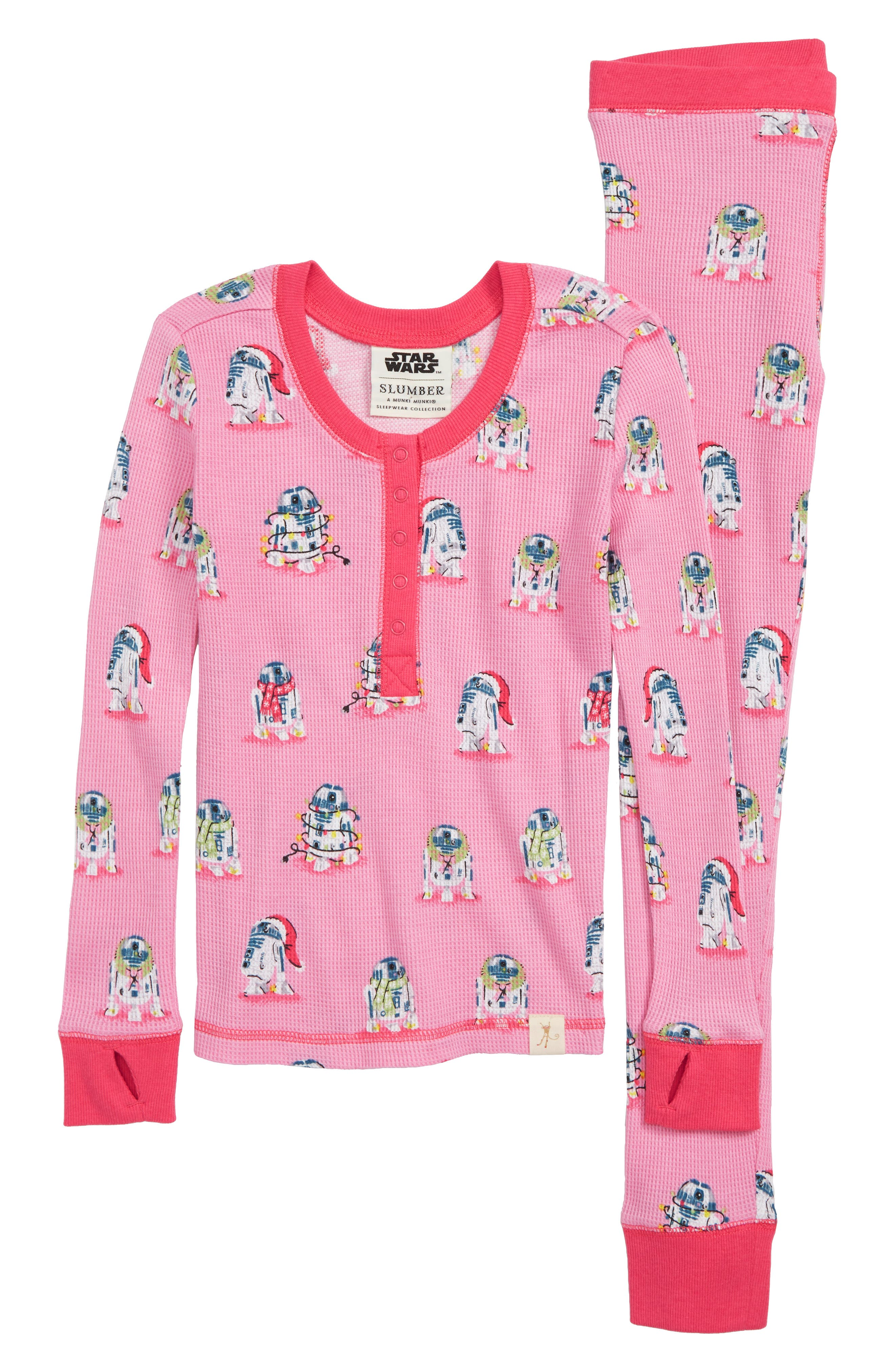 Star Wars<sup>™</sup> Slumber Fitted Two-Piece Thermal Pajamas,                         Main,                         color, PINK STAR WARS
