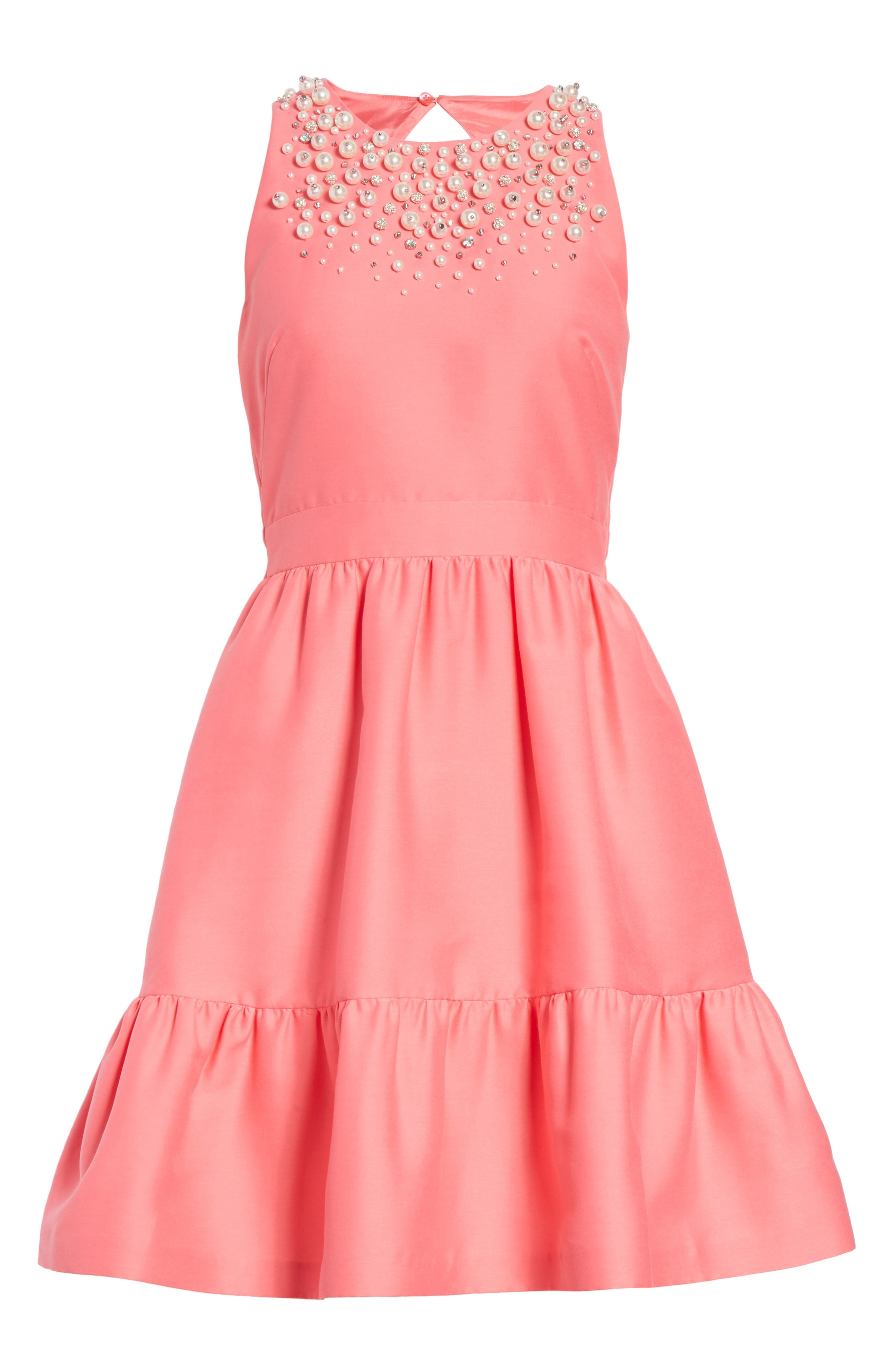 embellished mikado fit-and-flare dress,                             Alternate thumbnail 6, color,                             682