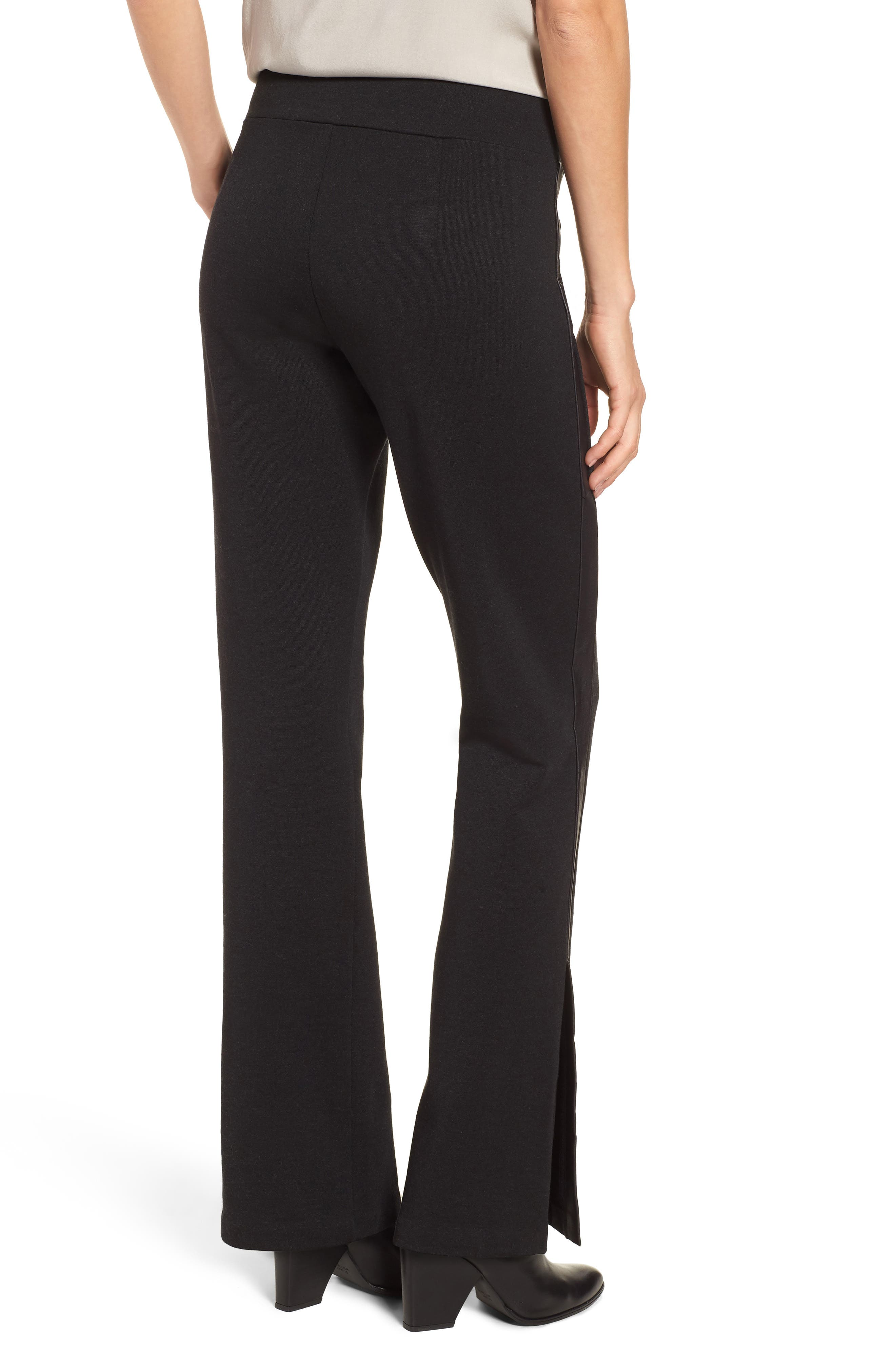 Slim Tuxedo Pants with Leather Stripe,                             Alternate thumbnail 2, color,                             001