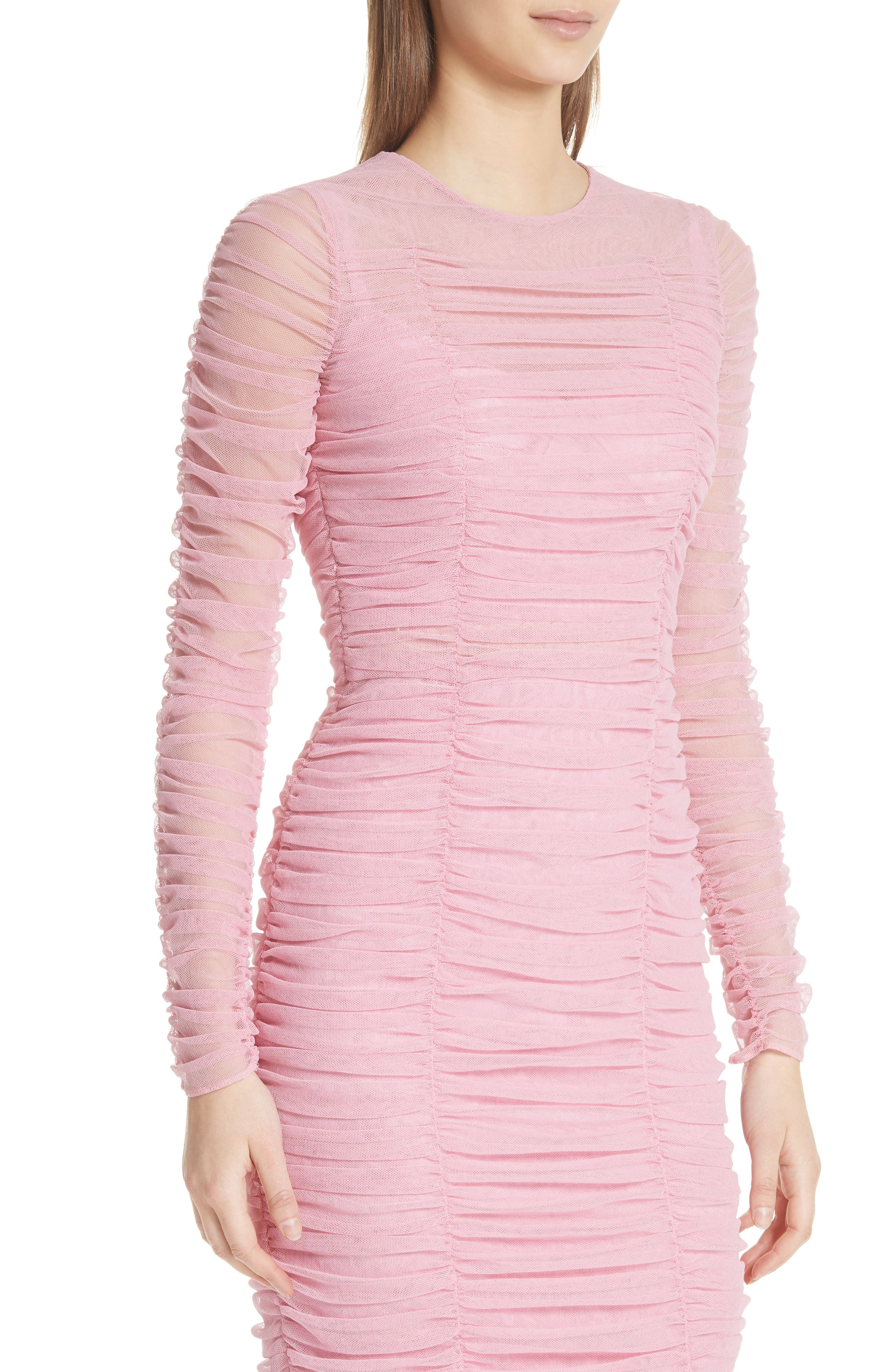 Ruched Tulle Body-Con Dress,                             Alternate thumbnail 4, color,                             ROSA
