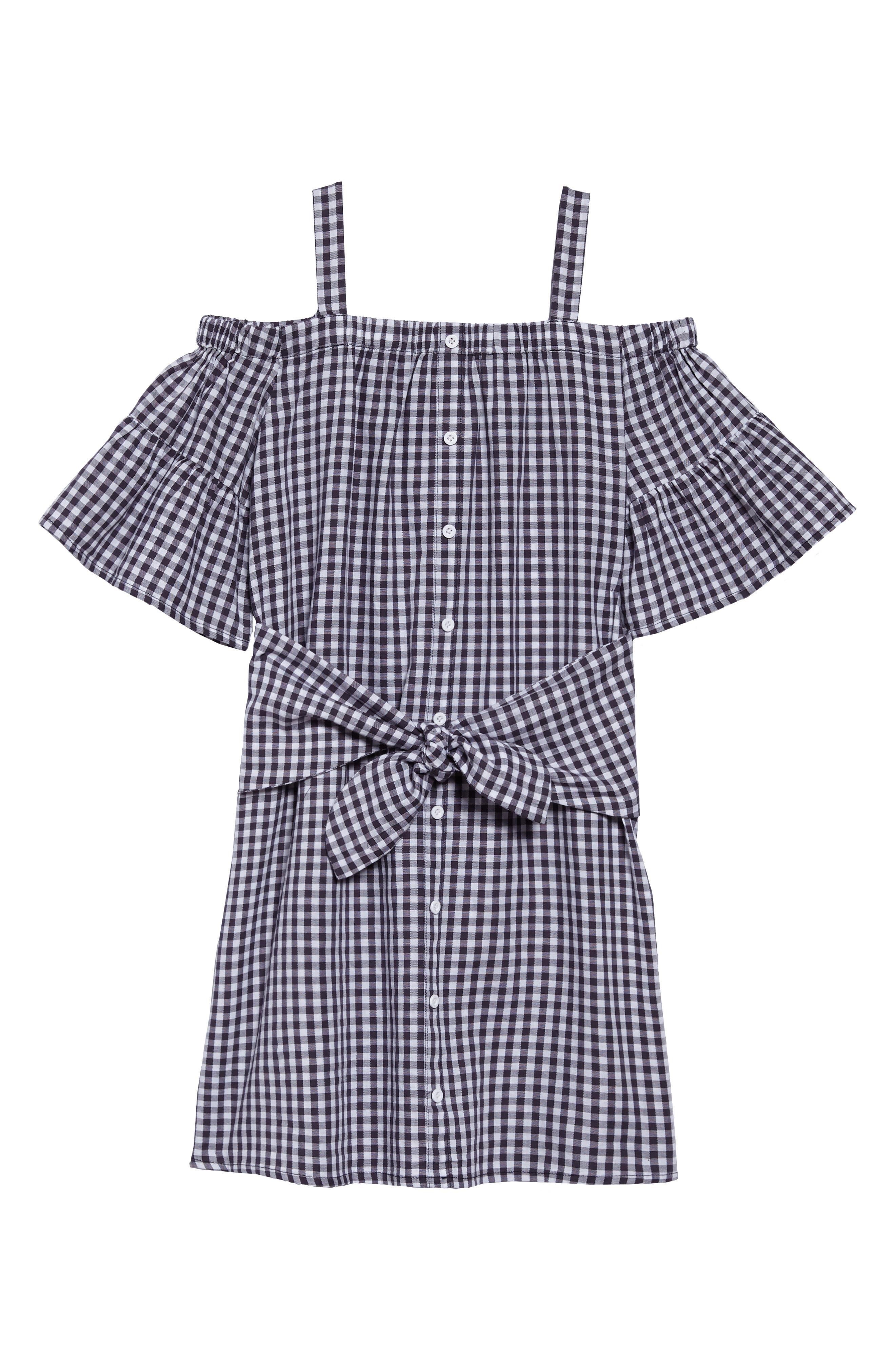 Jenny Check Cold Shoulder Dress,                             Main thumbnail 1, color,                             001