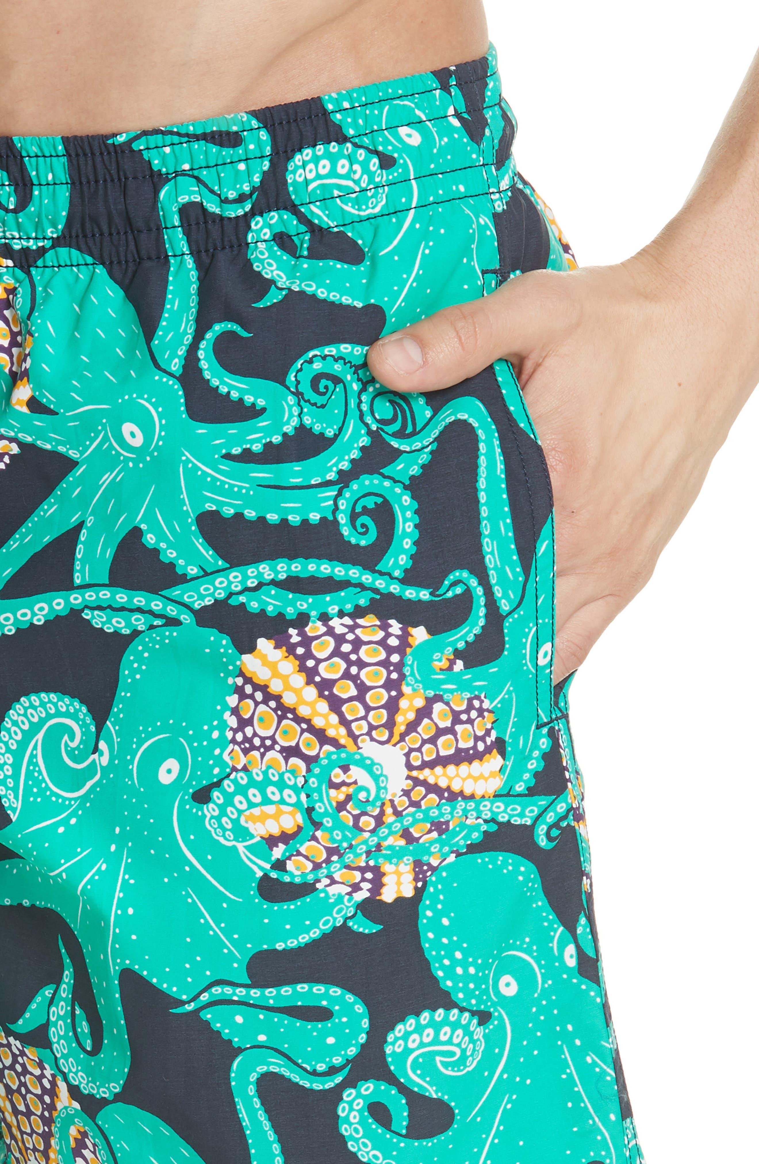 Octopus & Shellfish Print Swim Trunks,                             Alternate thumbnail 4, color,                             NAVY
