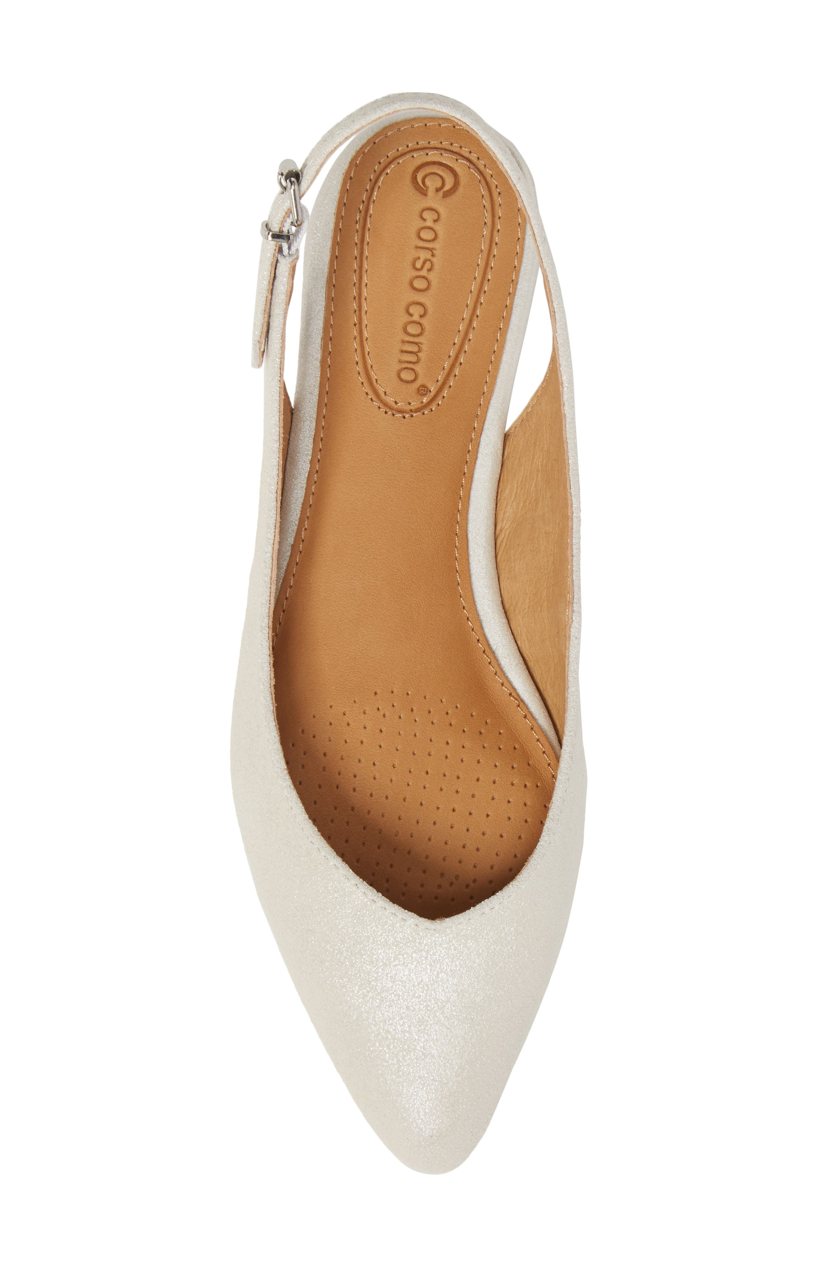 Jackey Slingback Flat,                             Alternate thumbnail 5, color,                             PLATINUM LEATHER