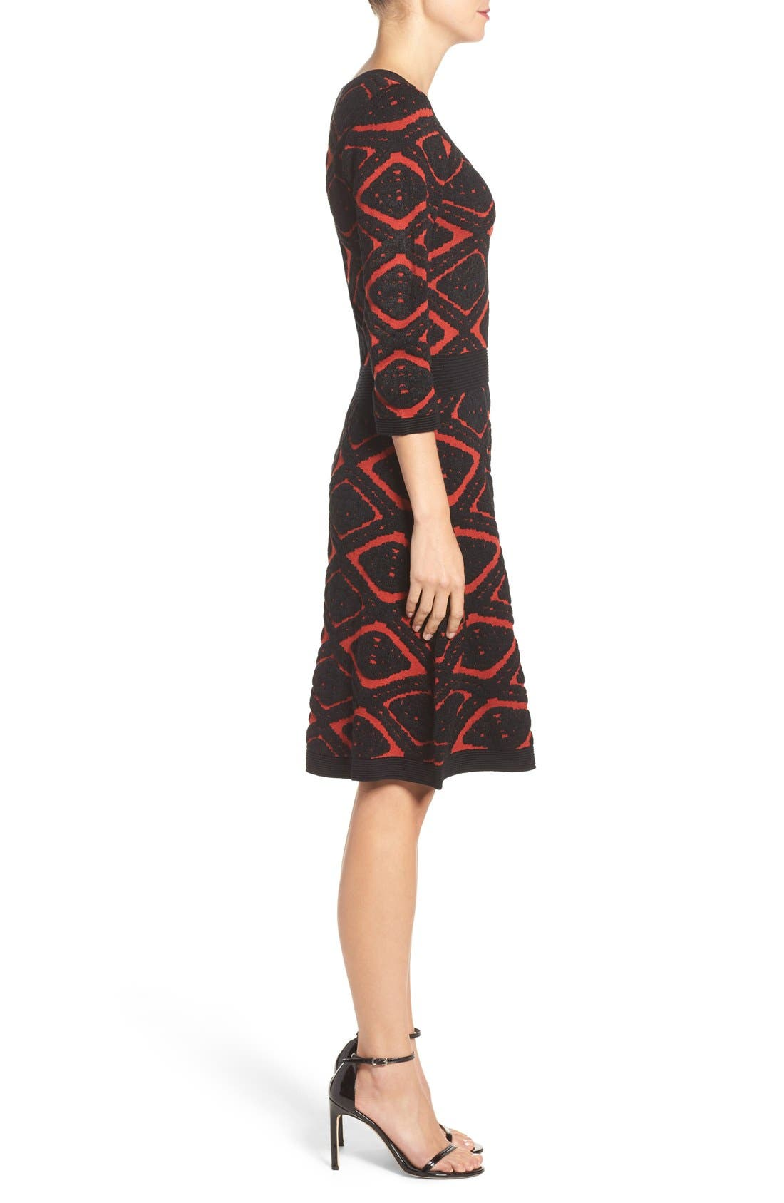 Sweater Fit & Flare Dress,                             Alternate thumbnail 3, color,                             006