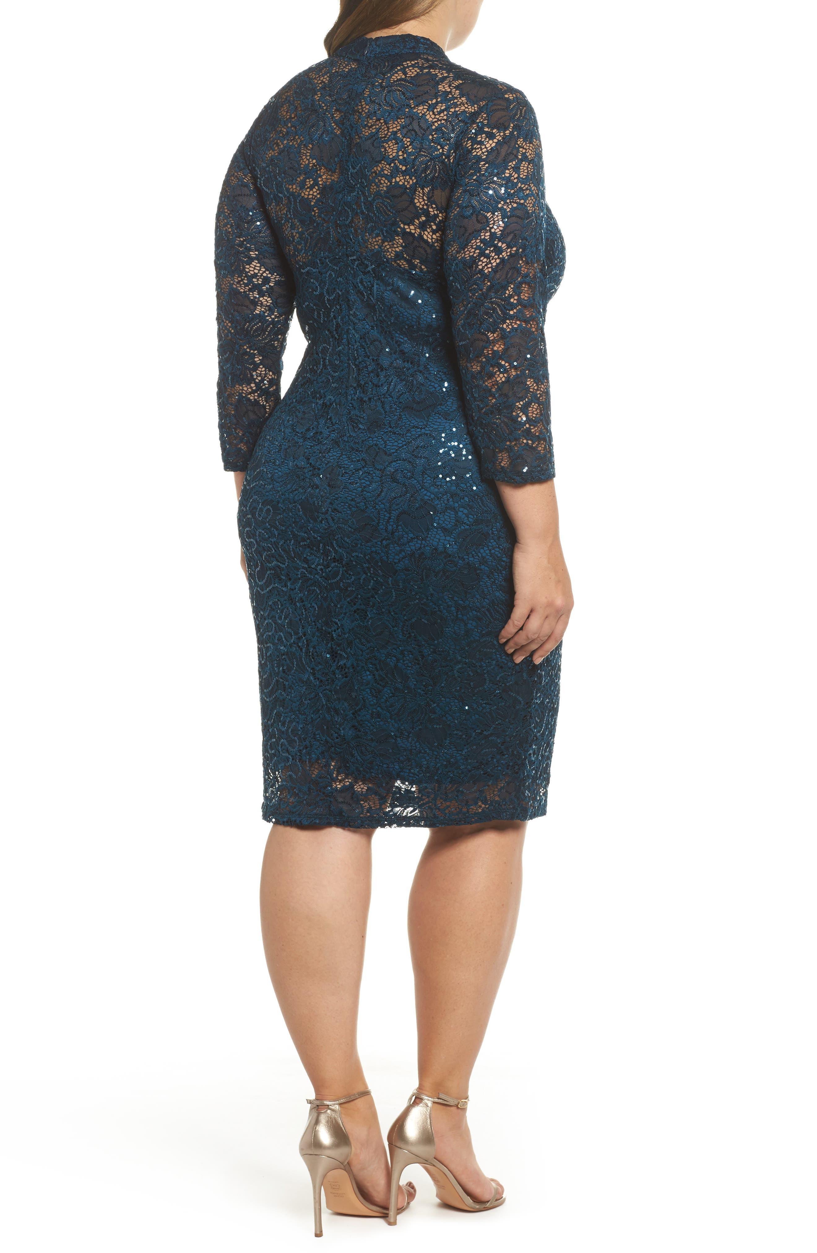 Choker Neck Lace Sheath Dress,                             Alternate thumbnail 2, color,                             300