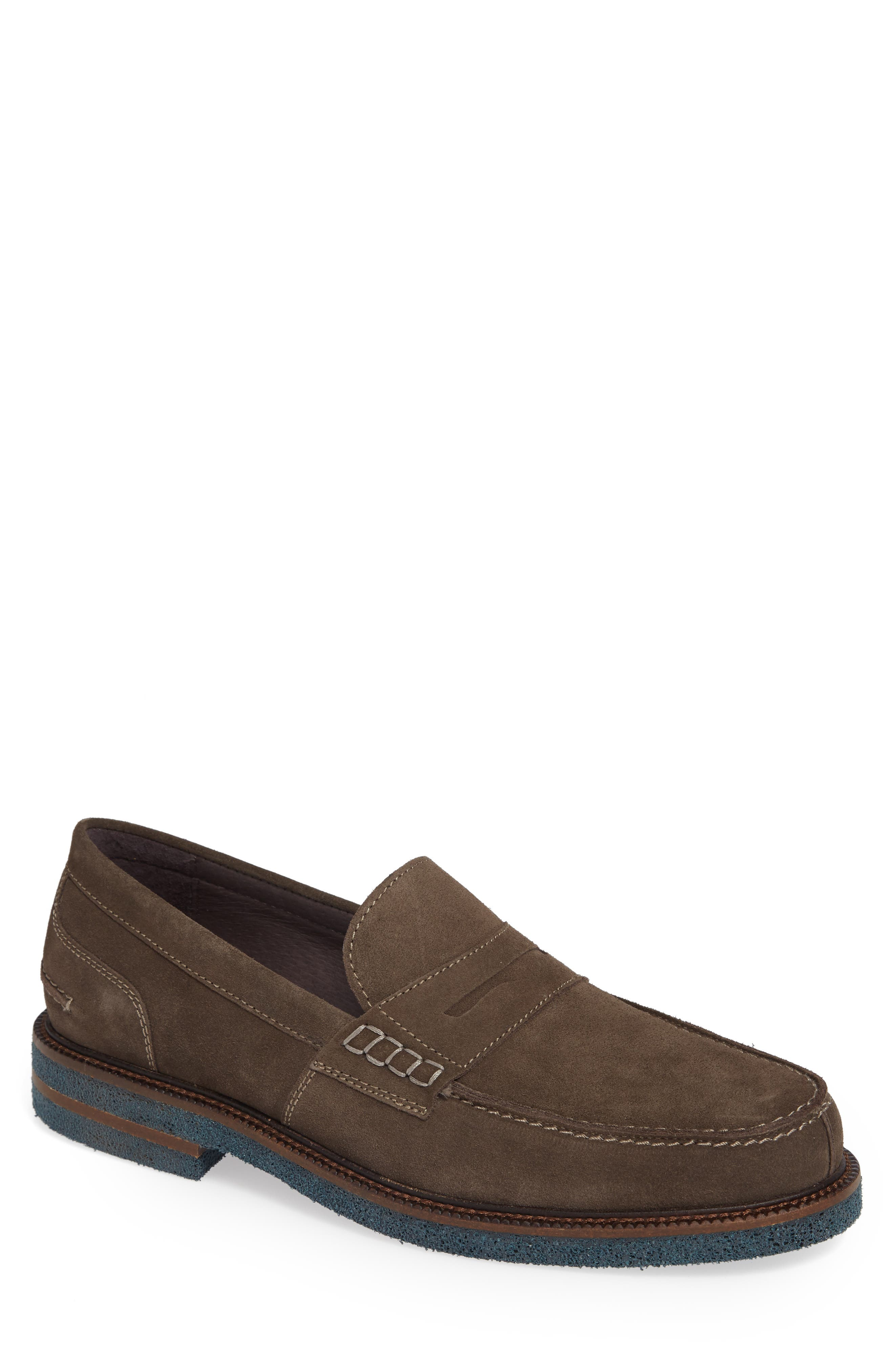 Landry Penny Loafer,                             Main thumbnail 1, color,                             GREY SUEDE