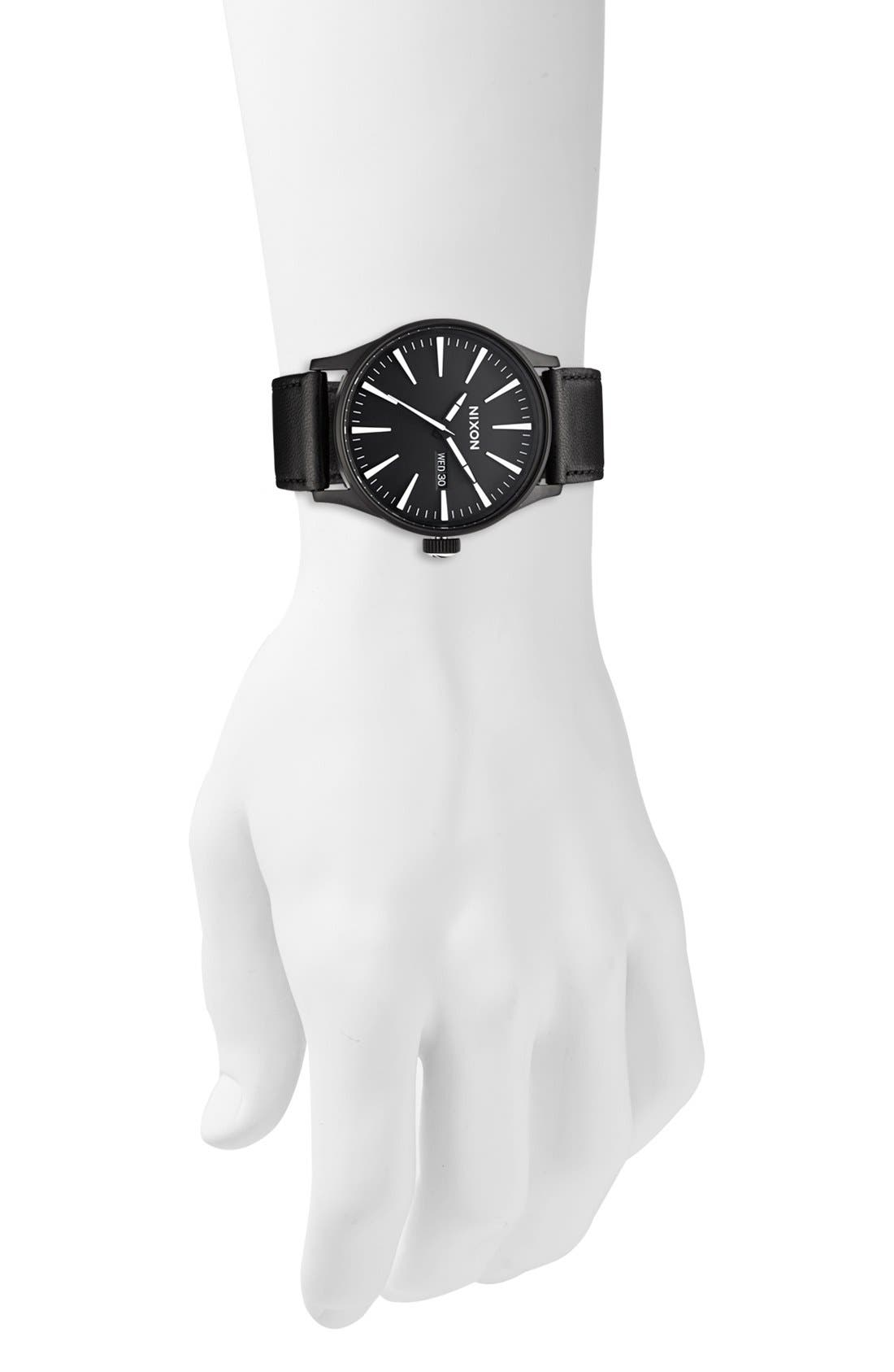 The Sentry Leather Strap Watch, 42mm,                             Alternate thumbnail 2, color,                             BLACK/ WHITE