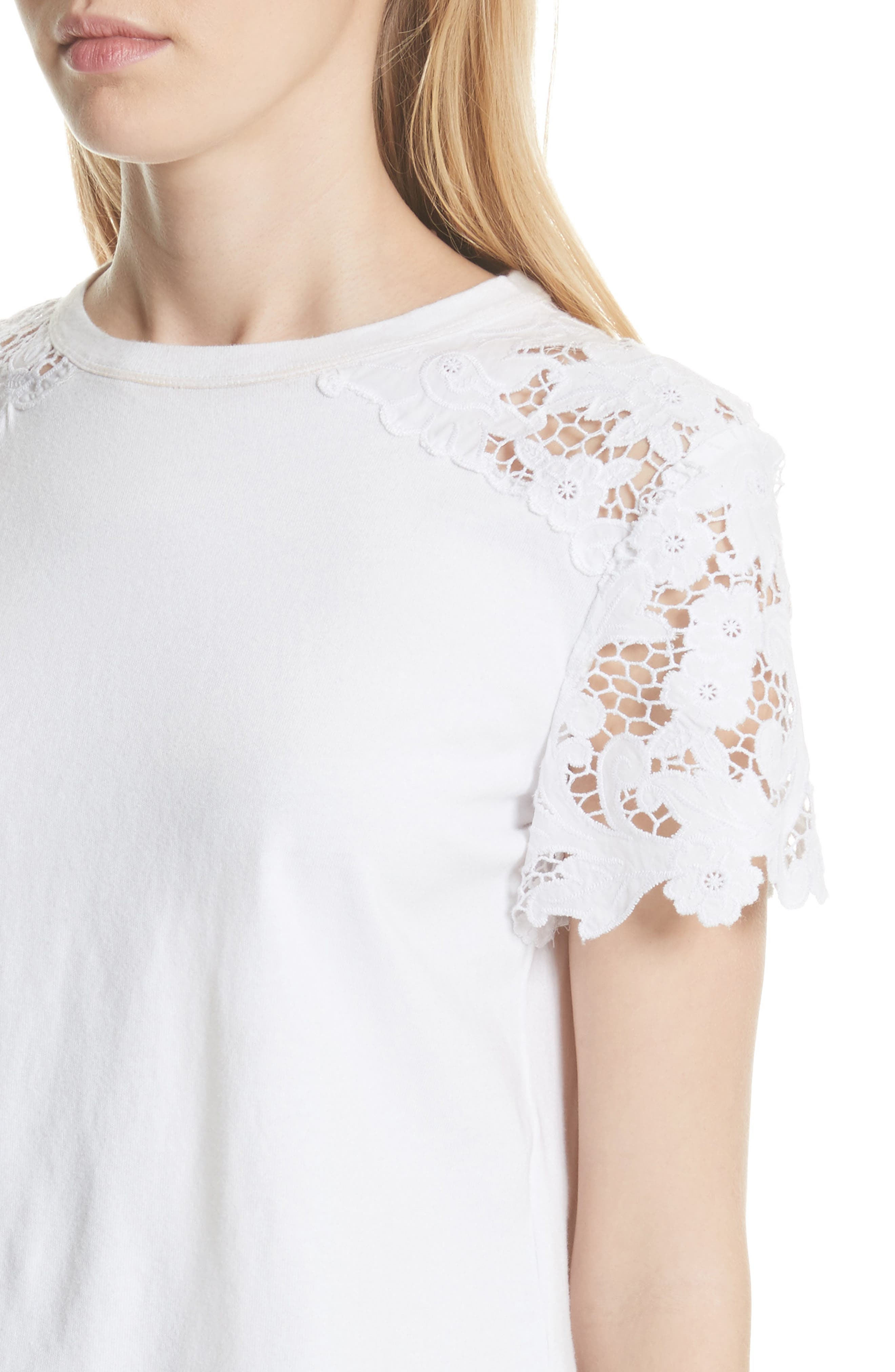 Lace Detail Tee,                             Alternate thumbnail 7, color,