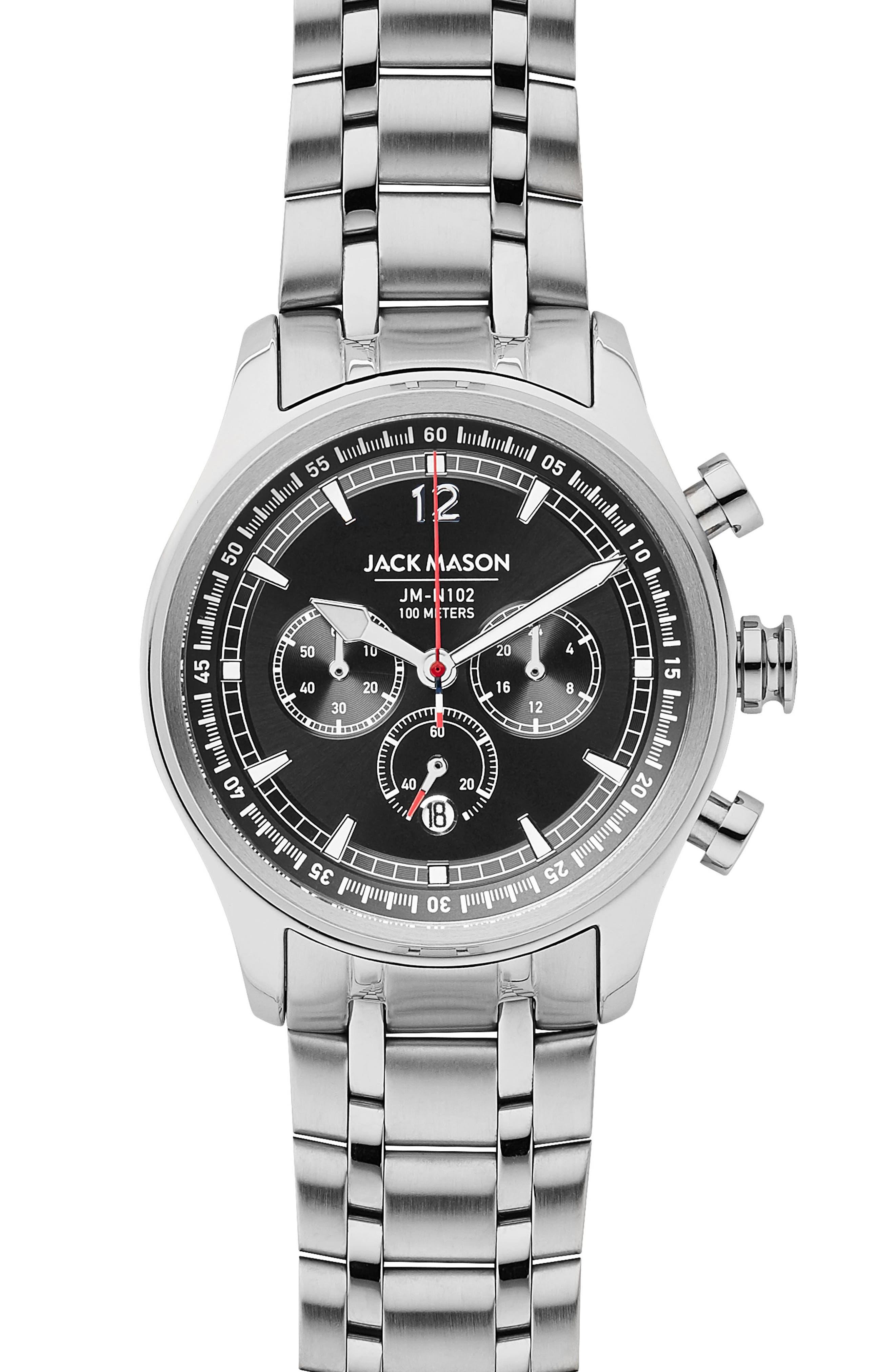 Nautical Chronograph Bracelet Watch, 42mm,                             Main thumbnail 1, color,                             BLACK/ SILVER