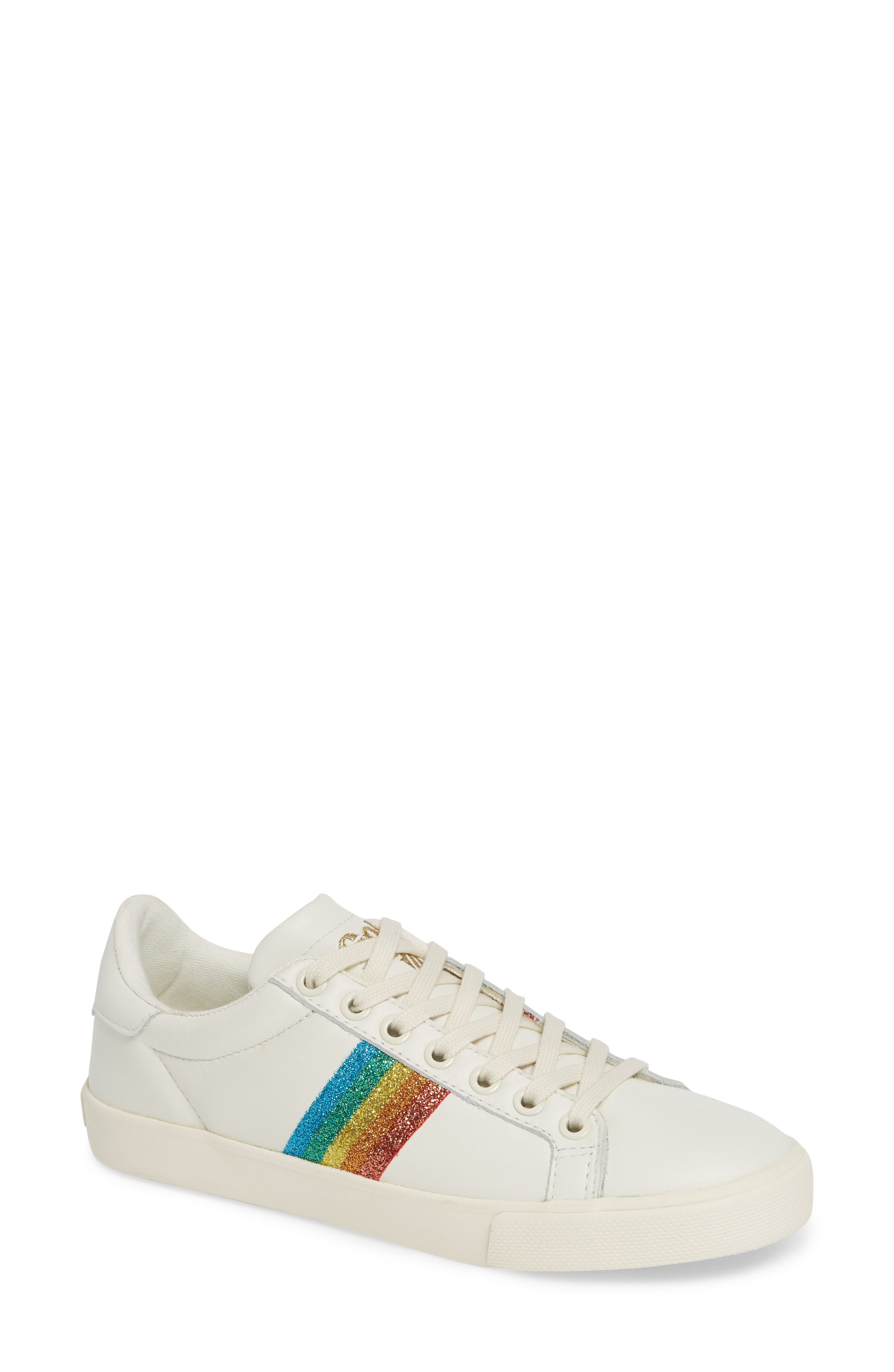 GOLA Orchid Rainbow Glitter Sneaker in Off White/ Multi Leather
