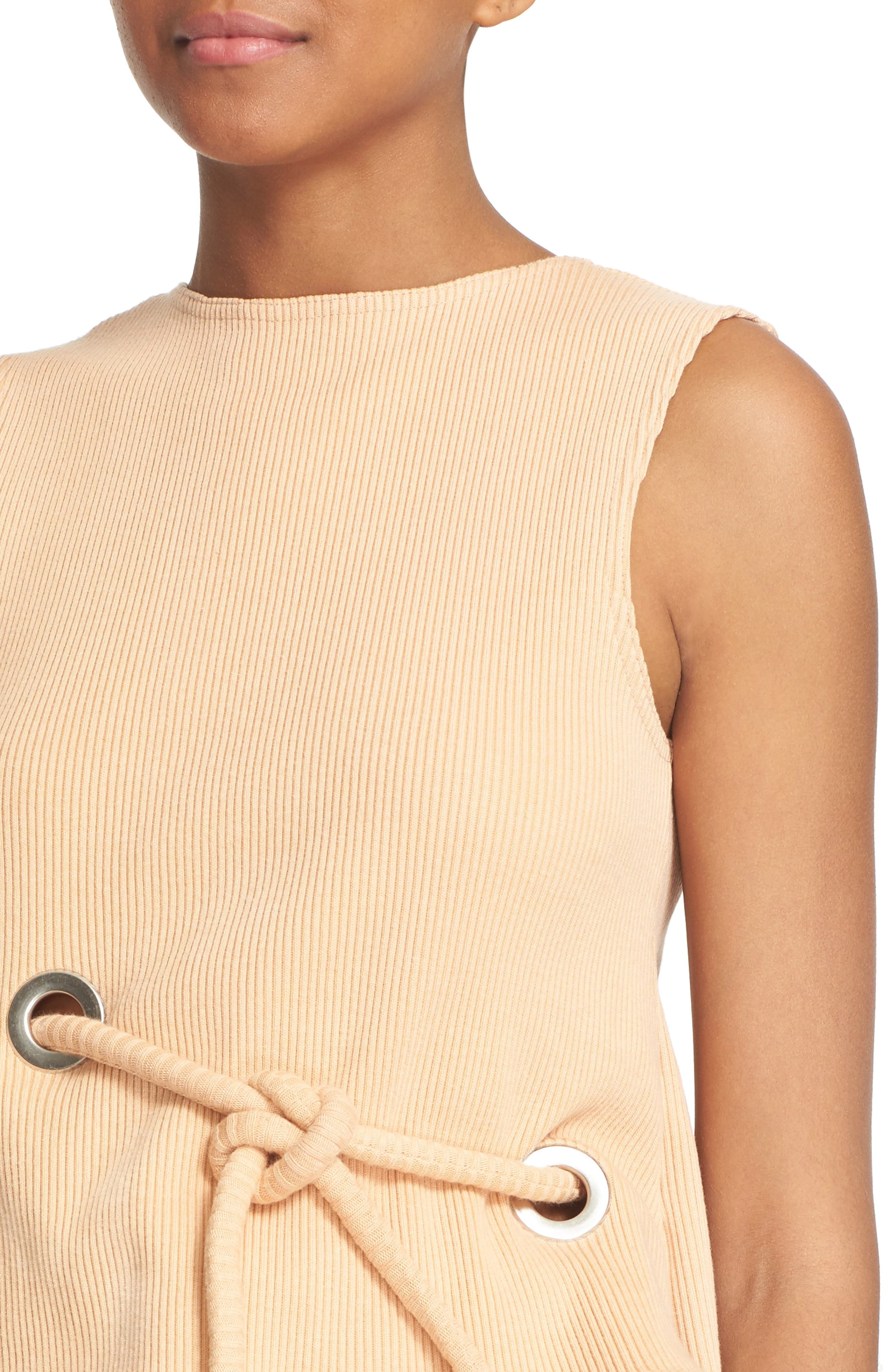 Sleeveless Ribbed Stretch Cotton Top,                             Alternate thumbnail 5, color,                             950
