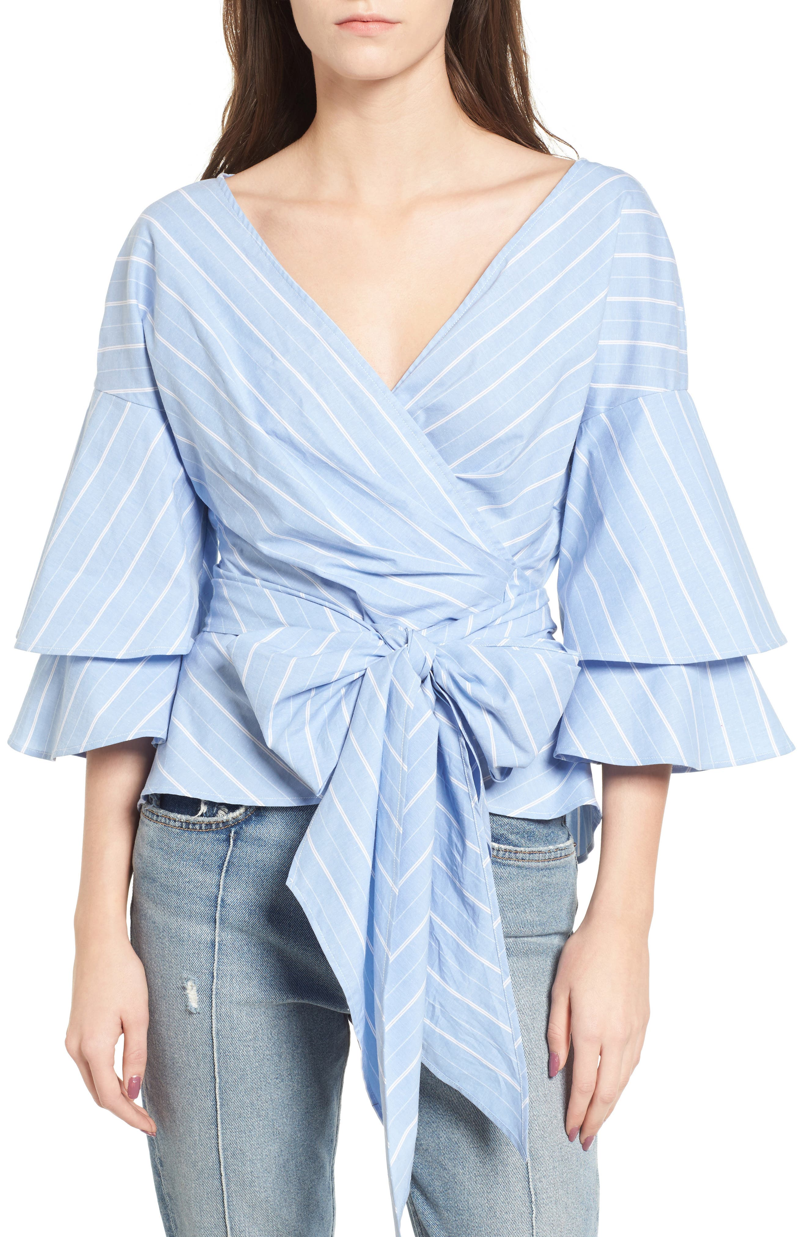 Beckett Tiered Bell Sleeve Top,                             Main thumbnail 4, color,