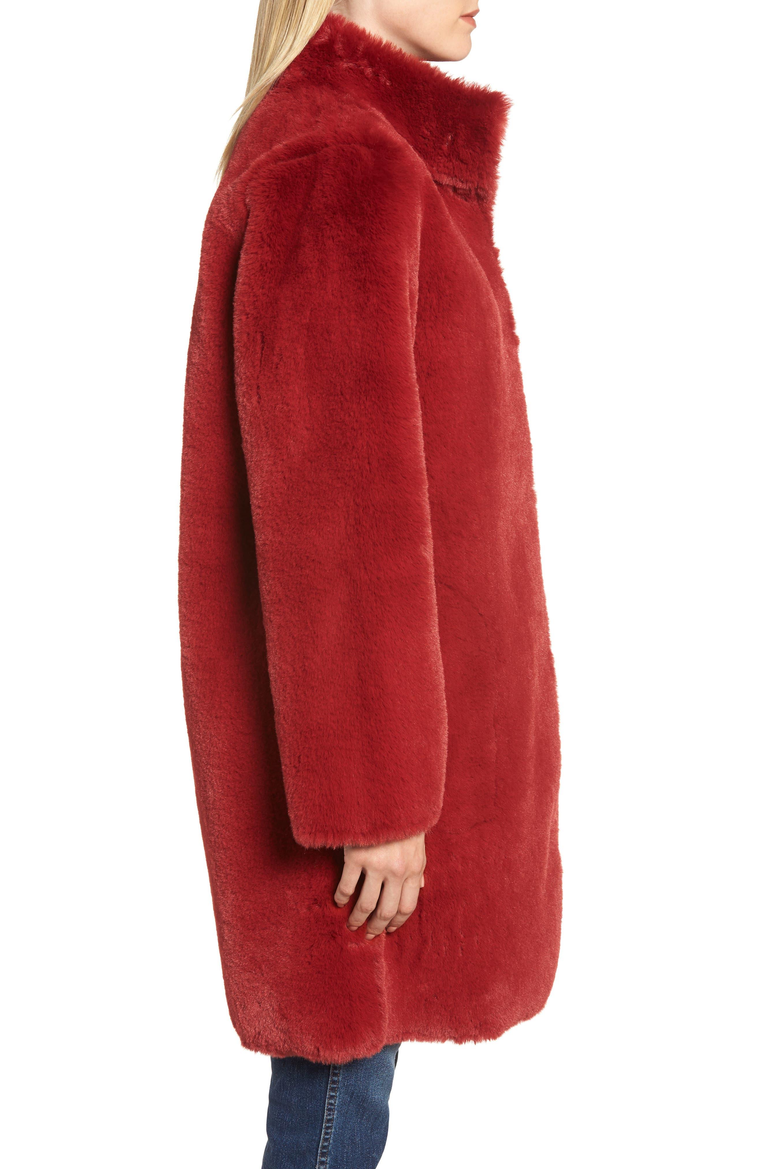 Faux Fur Reversible Coat,                             Alternate thumbnail 4, color,                             RED