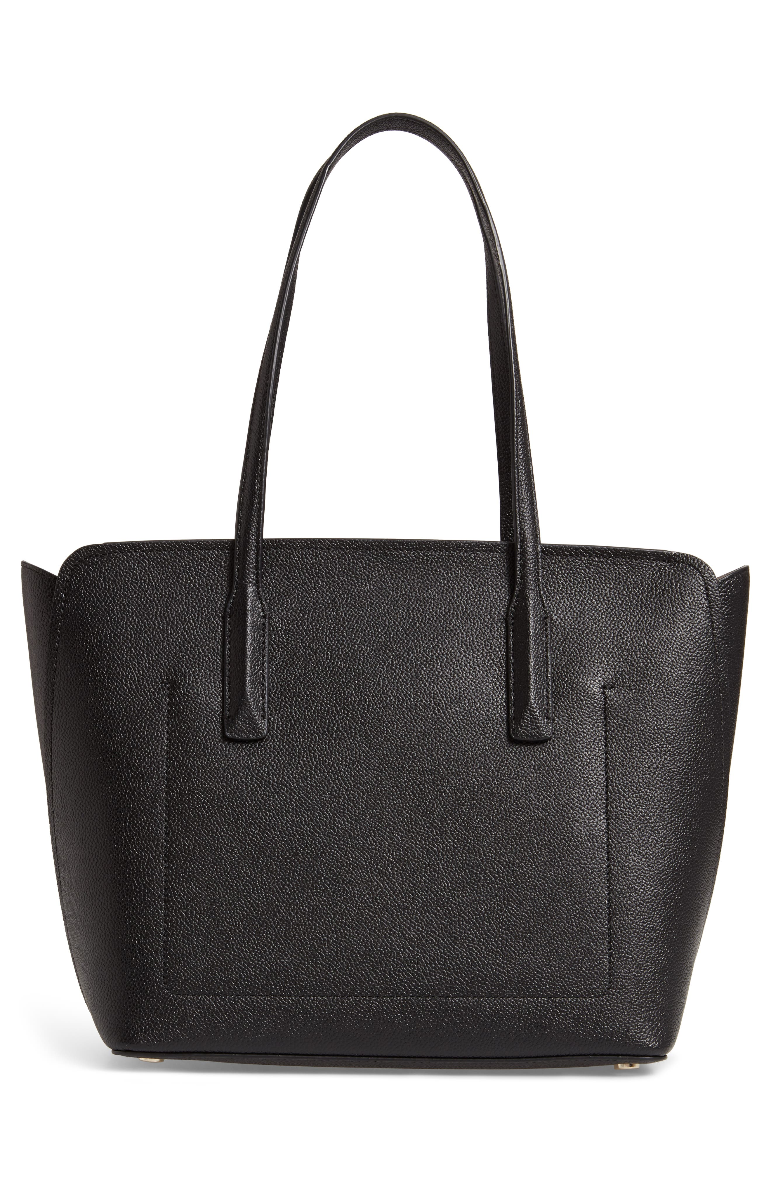medium margaux leather tote,                             Alternate thumbnail 3, color,                             BLACK
