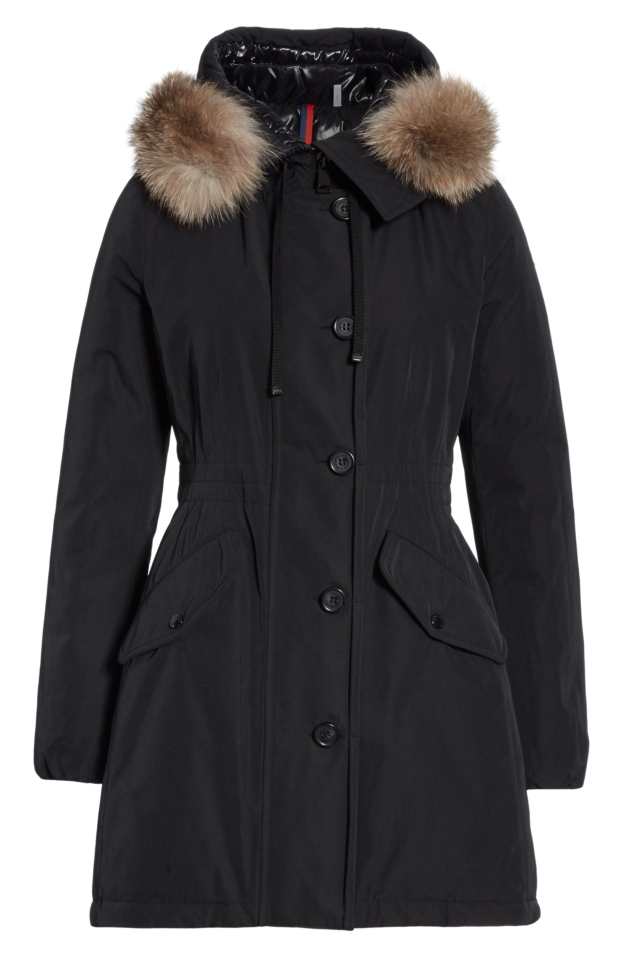 Monticole Hooded Down Coat with Removable Genuine Fox Fur Trim,                             Alternate thumbnail 6, color,                             BLACK