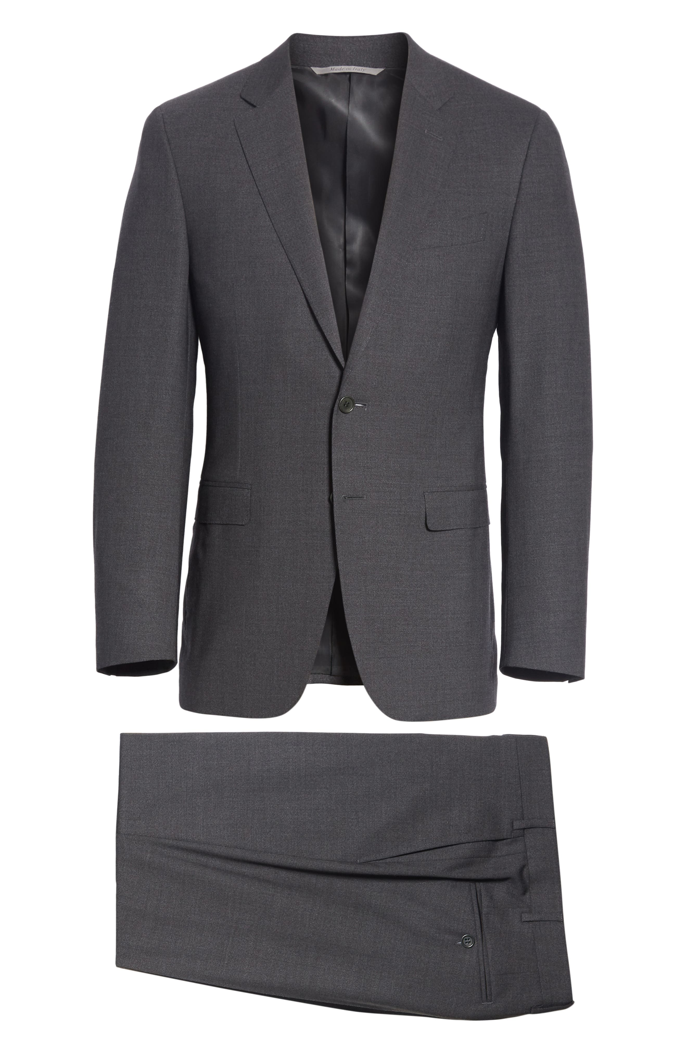Classic Fit Stretch Solid Wool Suit,                             Alternate thumbnail 7, color,                             CHARCOAL