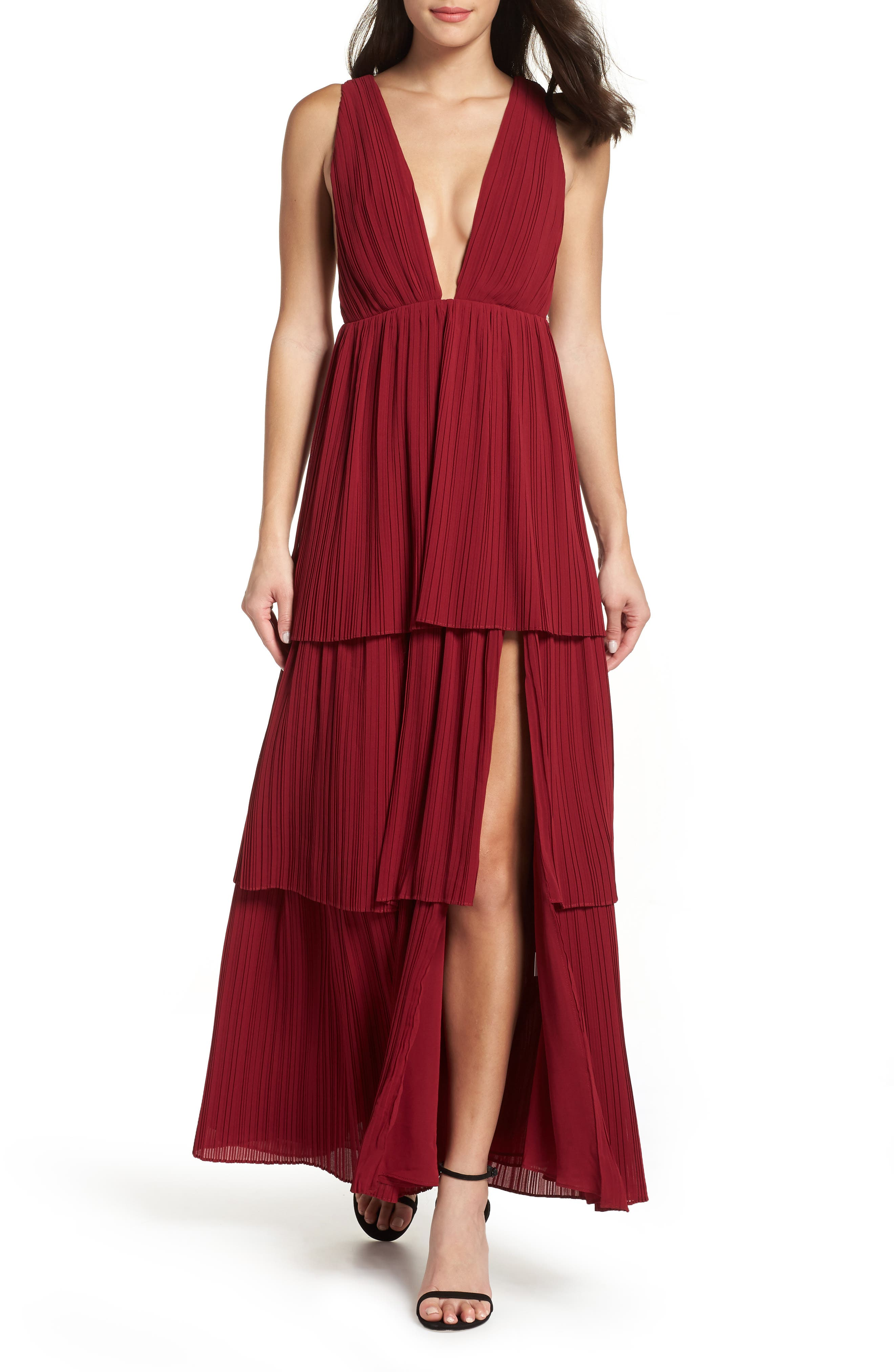 Fame And Partners The Callie Pleat Tiered Gown, Burgundy
