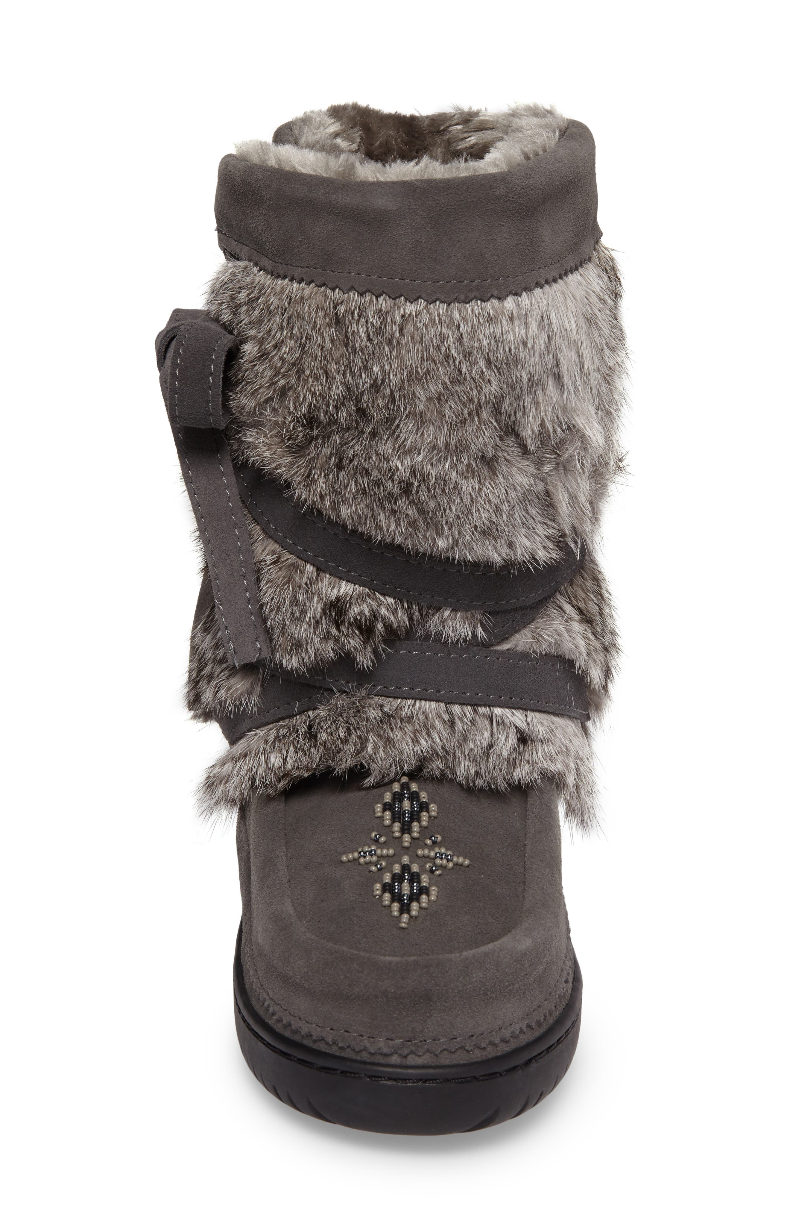 Beaded Short Wrap Genuine Rabbit Fur & Shearling Boot,                             Alternate thumbnail 4, color,                             CHARCOAL FUR