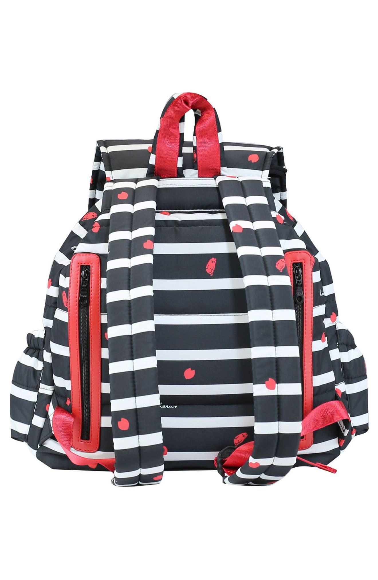 Print Water-Repellent Diaper Backpack,                             Alternate thumbnail 3, color,                             BLACK SAKURA