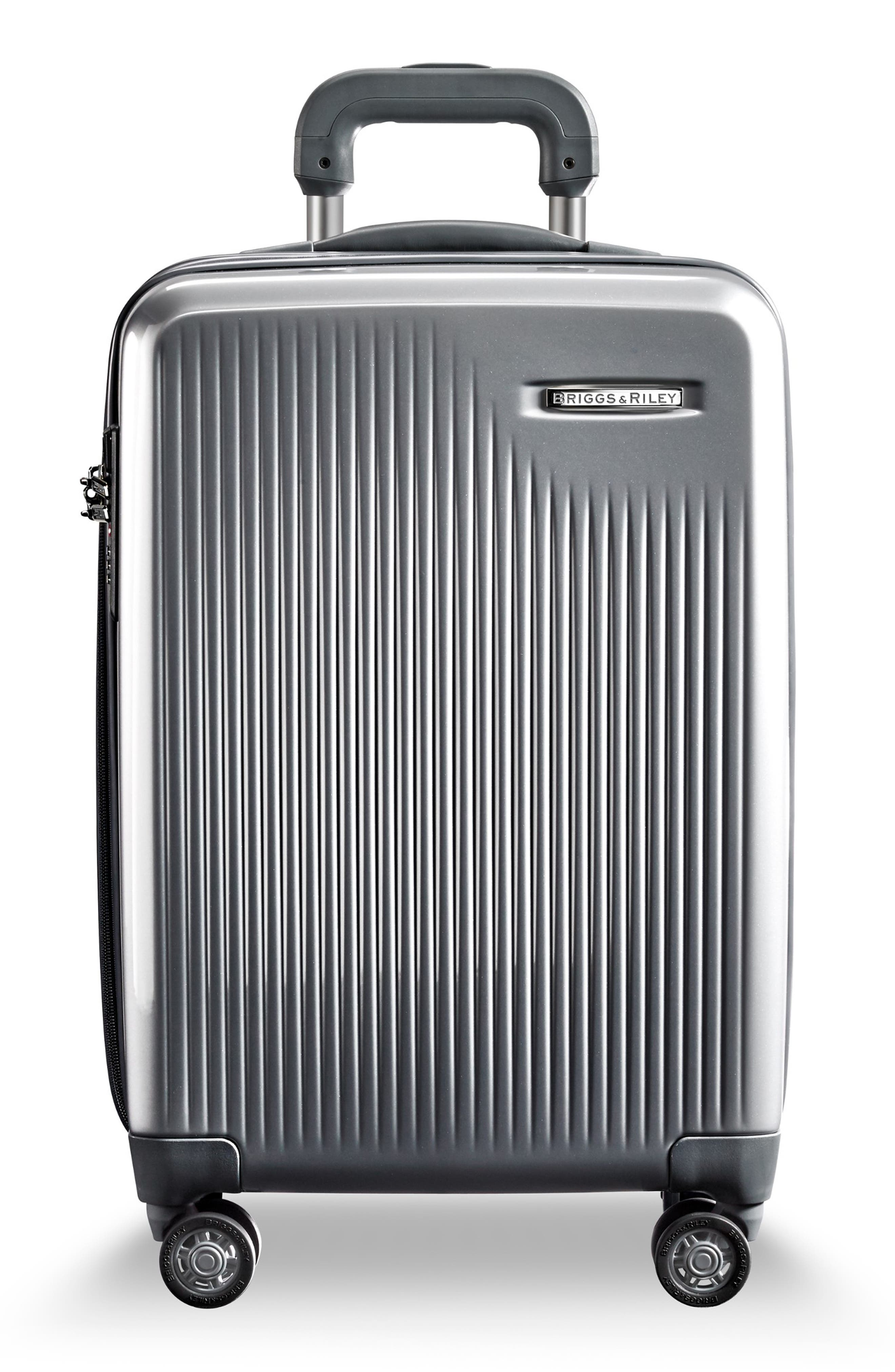 Sympatico Special Edition Expandable 21-Inch Spinner International Carry-On,                         Main,                         color, SILVER