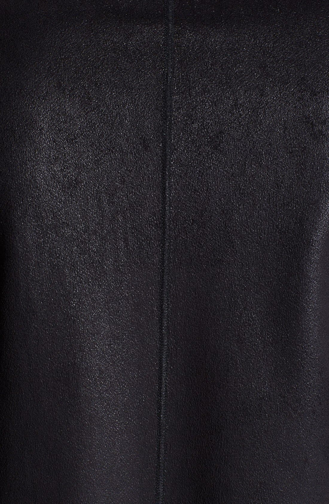 Armani Collezioni Faux Leather Duffle Coat,                             Alternate thumbnail 3, color,                             001