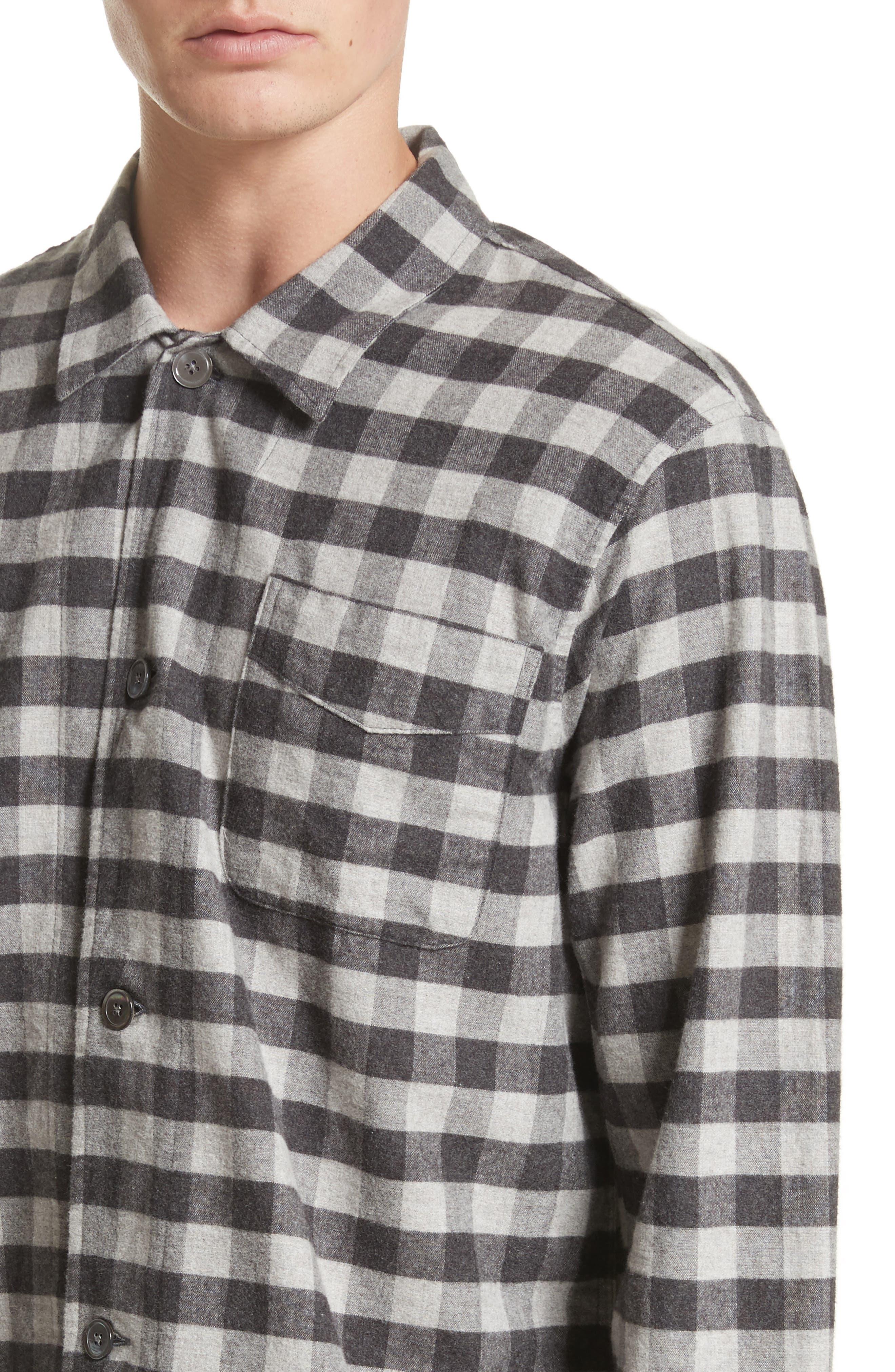 Buffalo Check Flannel Sport Shirt,                             Alternate thumbnail 4, color,                             001