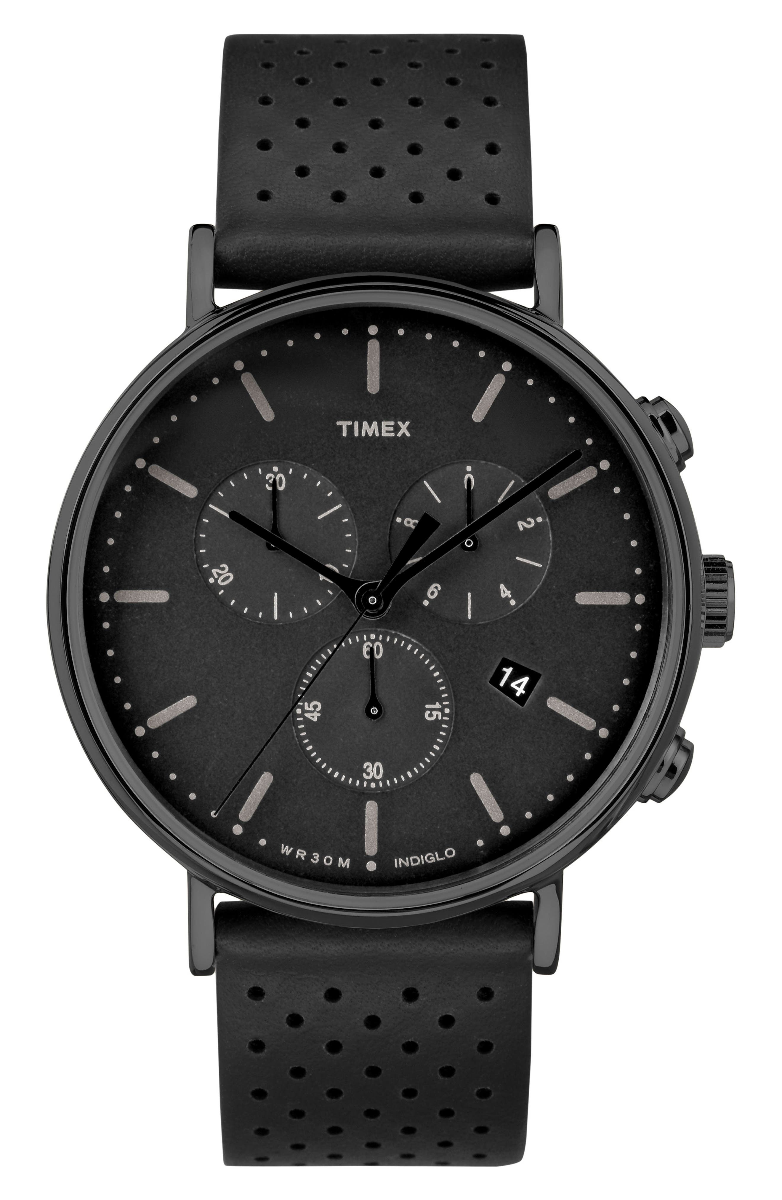 Fairfield Chronograph Leather Strap Watch, 41mm,                         Main,                         color, BLACK