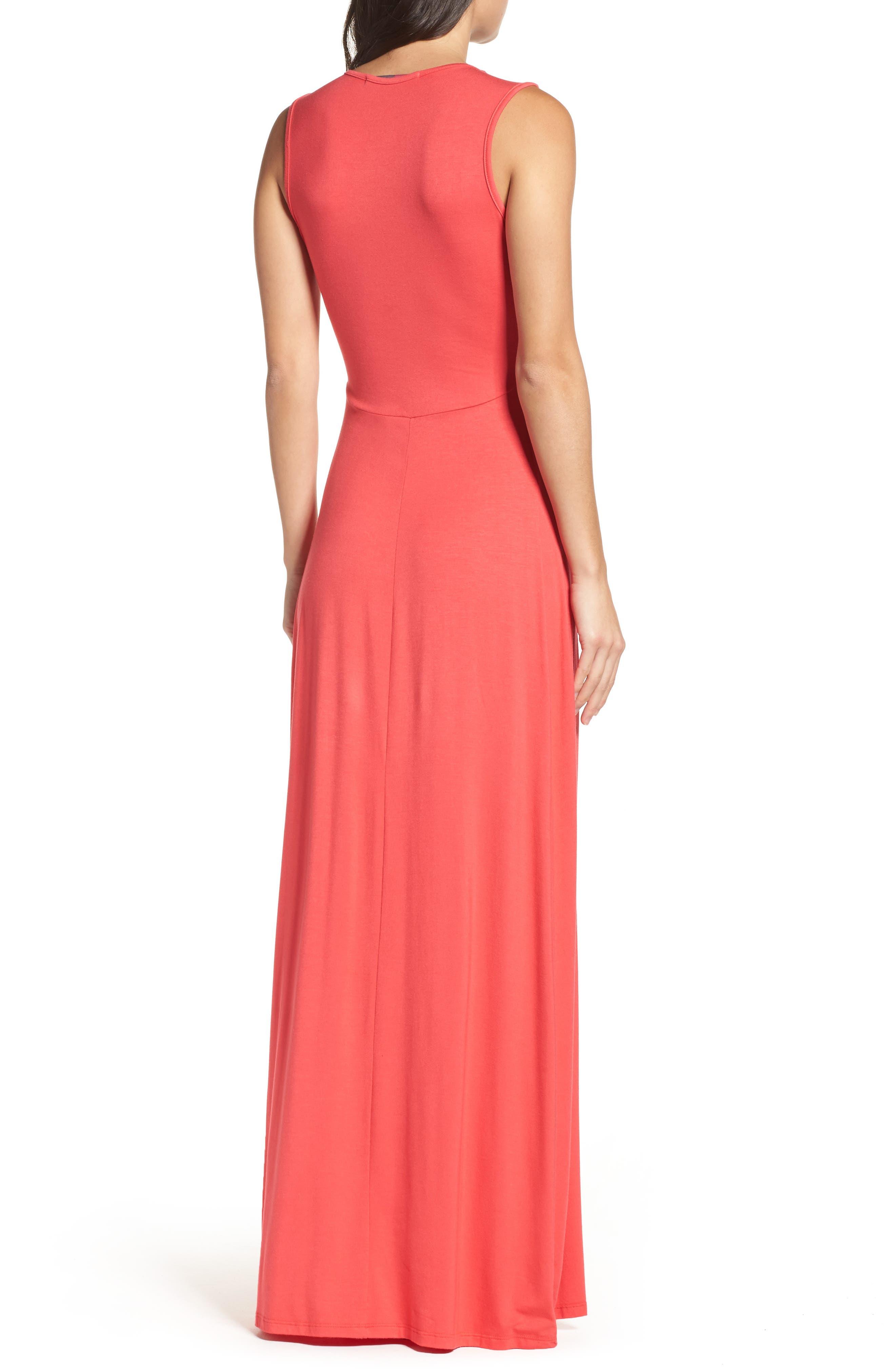 Deep V-Neck Jersey Maxi Dress,                             Alternate thumbnail 2, color,                             CORAL