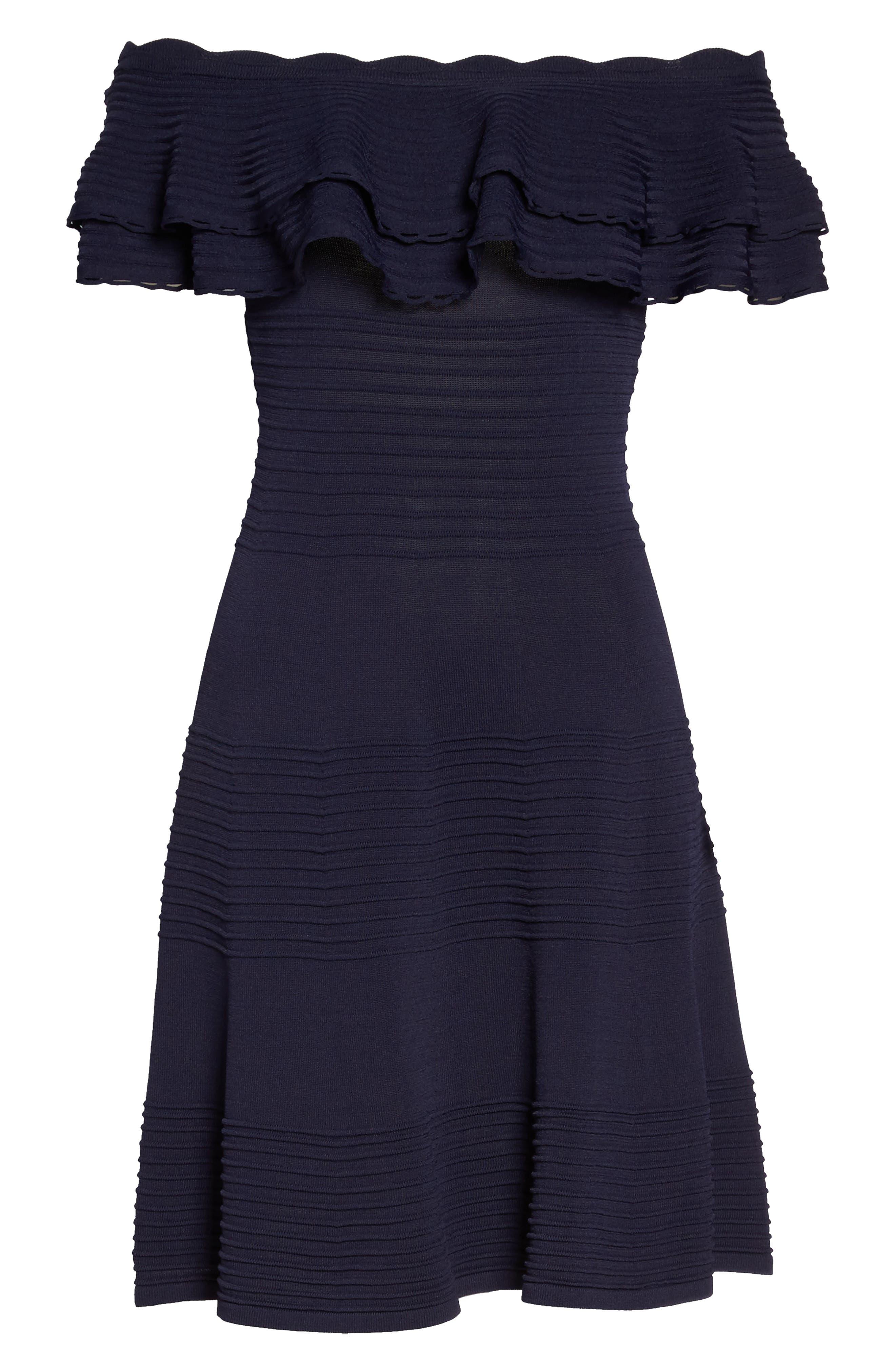Off the Shoulder Fit & Flare Dress,                             Alternate thumbnail 7, color,                             NAVY